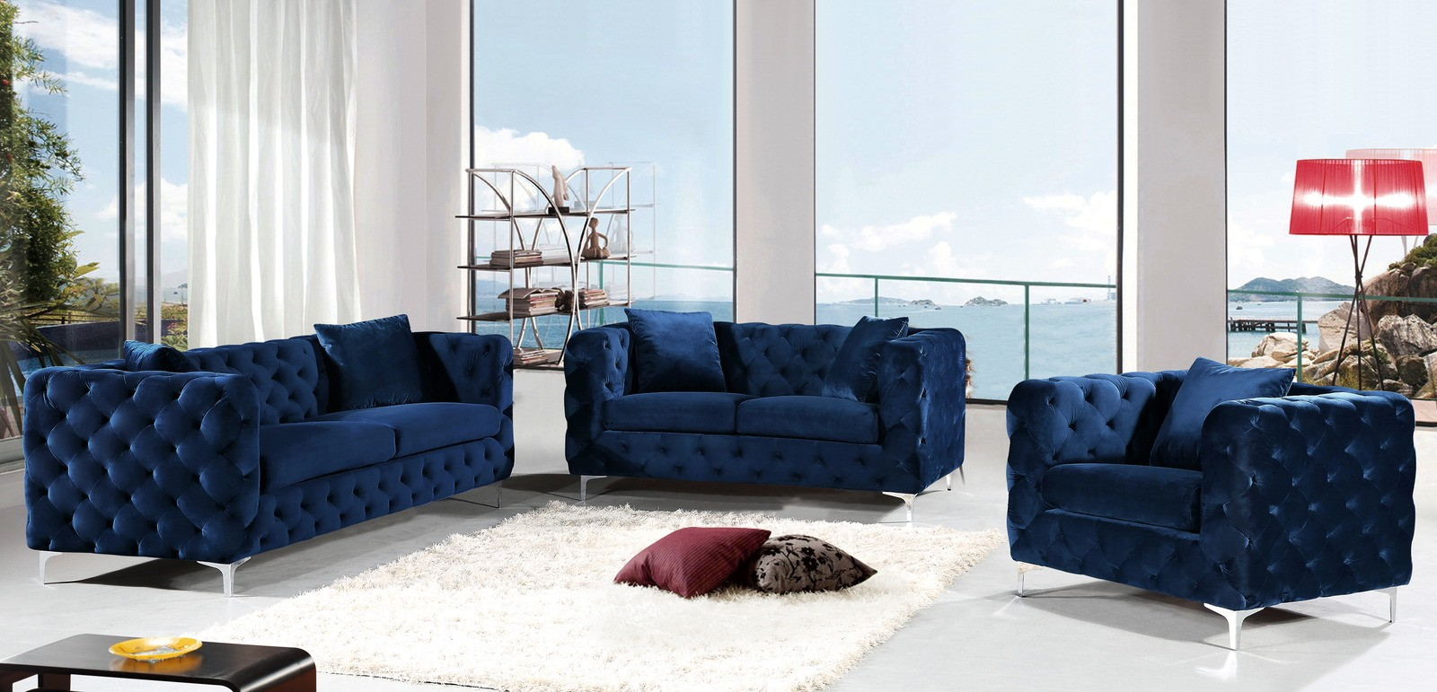Meridian scarlett velvet 2 piece living room set in navy media gallery