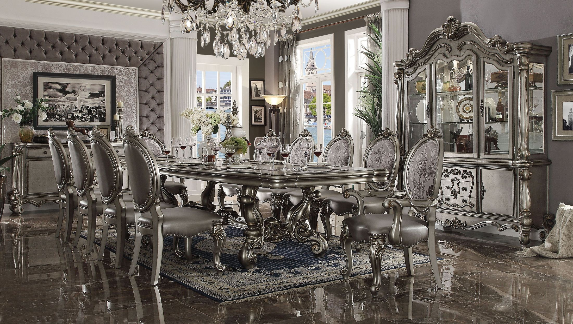 Stupendous Versailles Antique Platinum Extendable Rectangular Dining Room Set Home Interior And Landscaping Ponolsignezvosmurscom