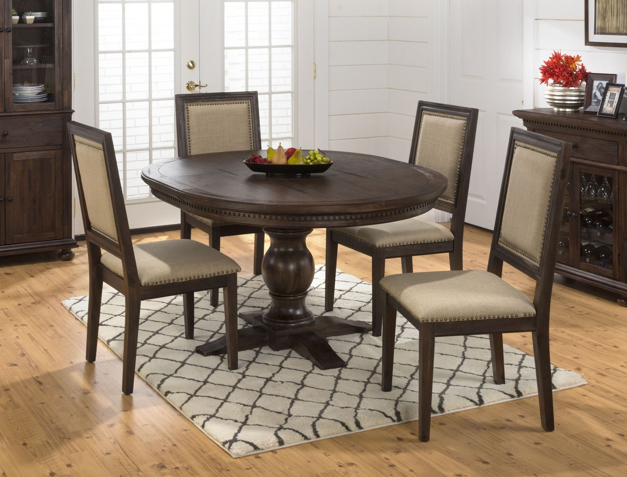 Geneva Hills Rustic Brown Extendable Round to Oval ...