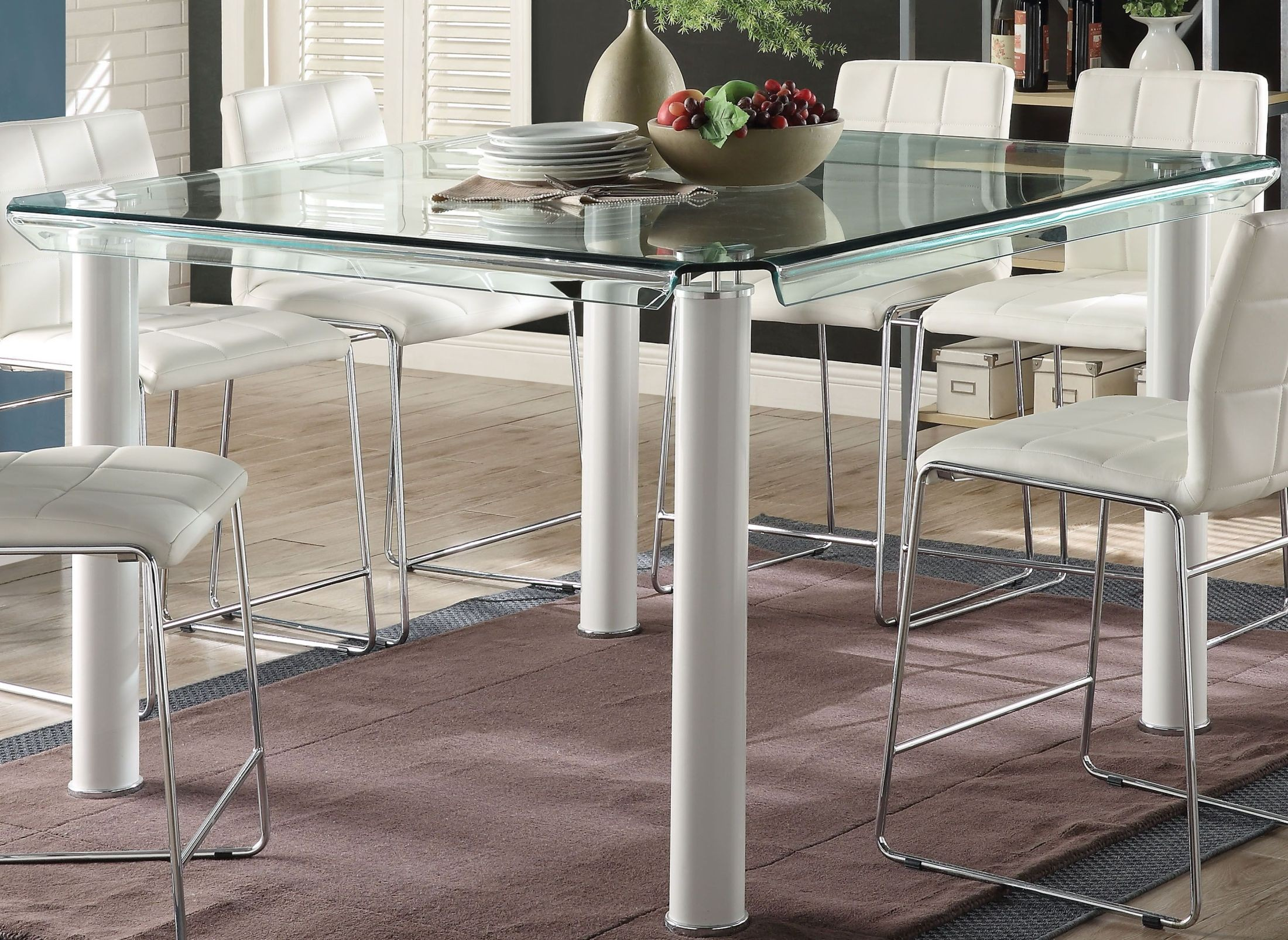 Gordie White And Clear Glass Top Counter Height Dining