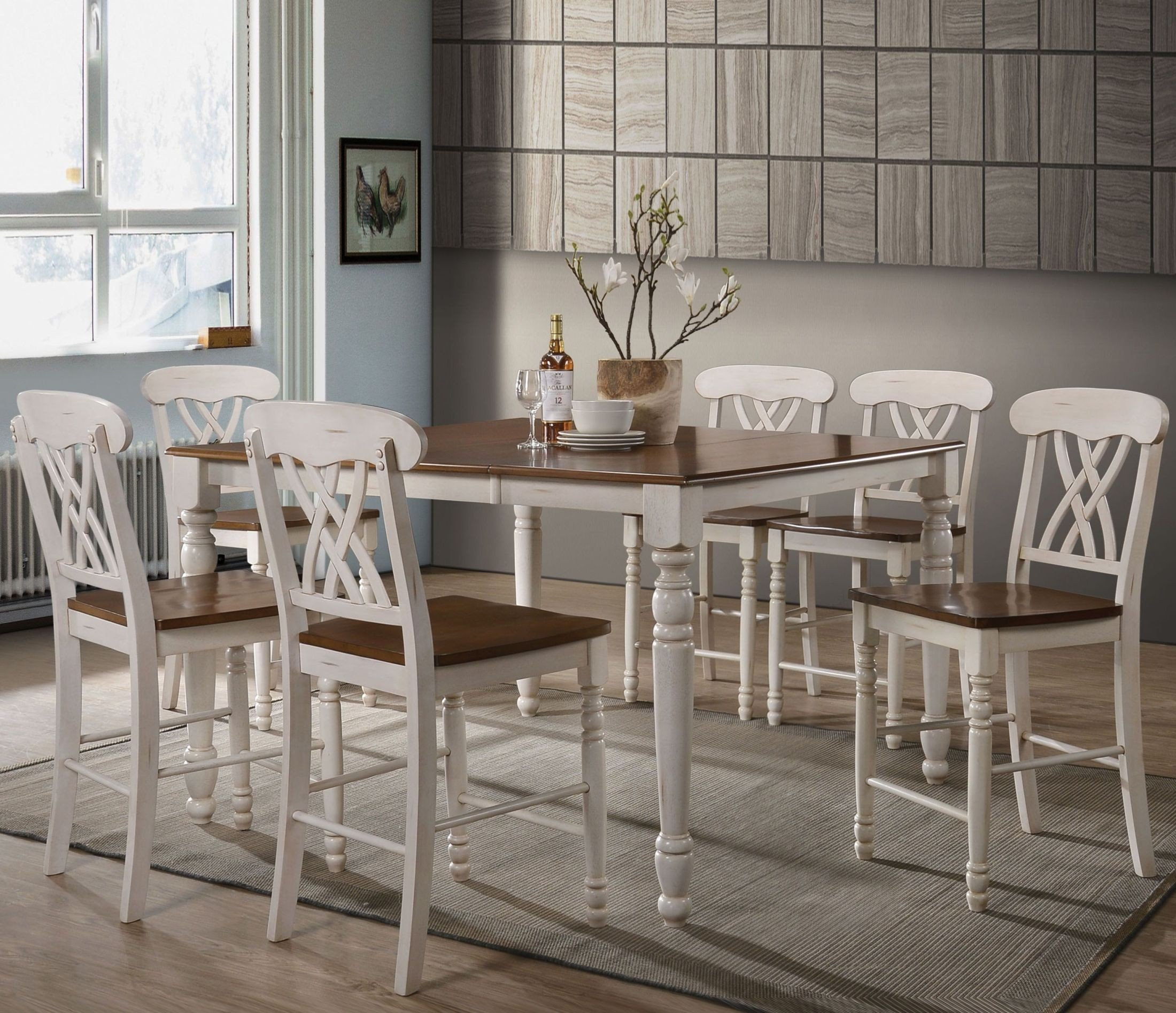Dylan Buttermilk And Oak Counter Height Dining Room Set 1stopbedrooms