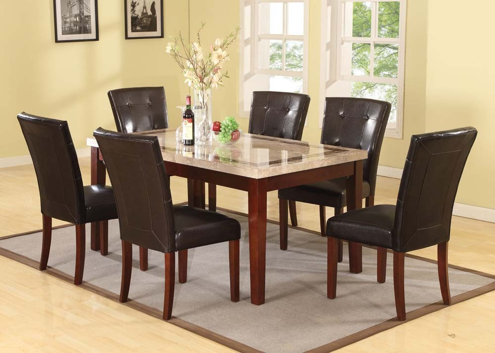 Acme Earline White Marble Top Dining Table With Brown