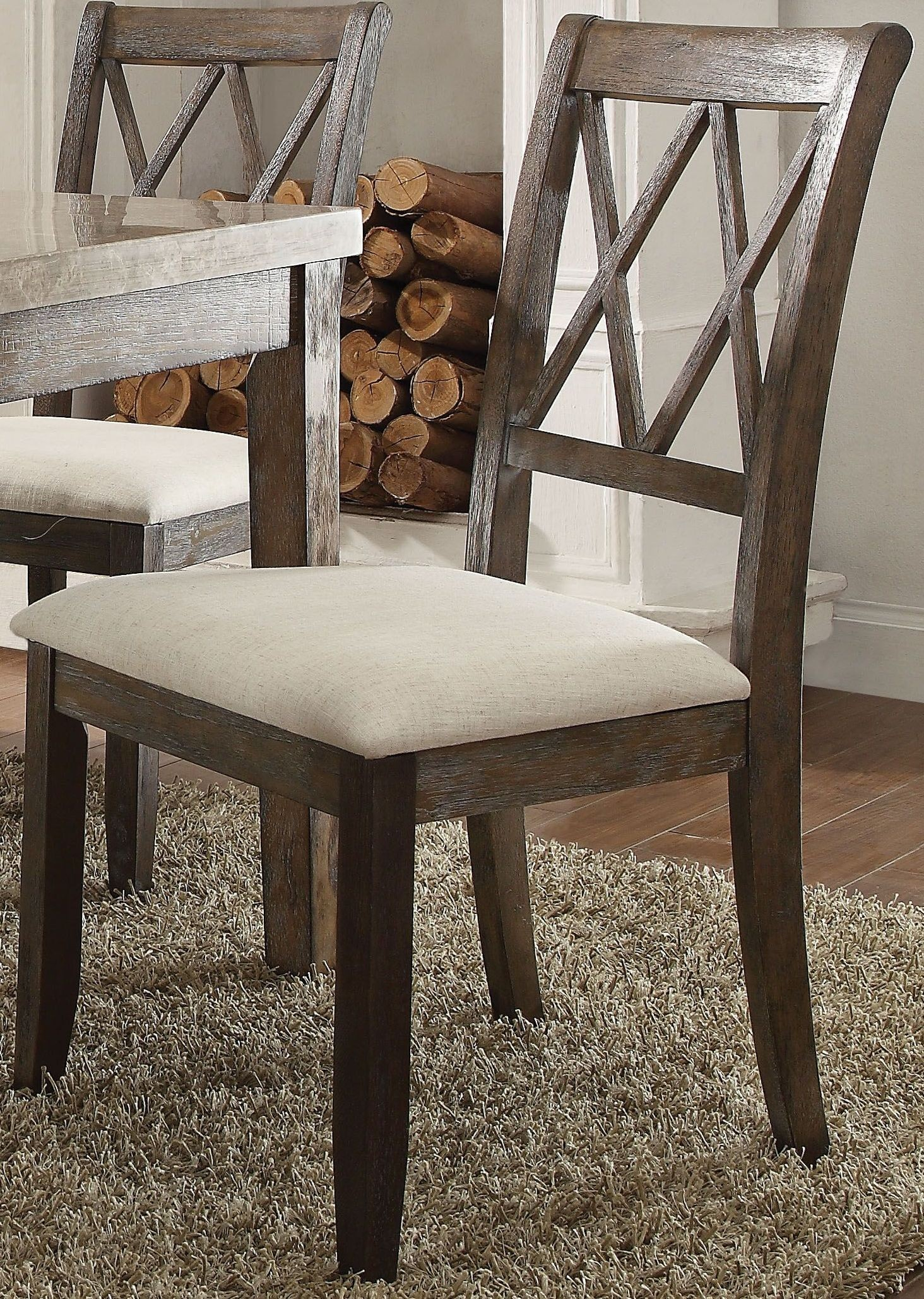 Claudia White Marble And Salvage Brown Dining Room Set