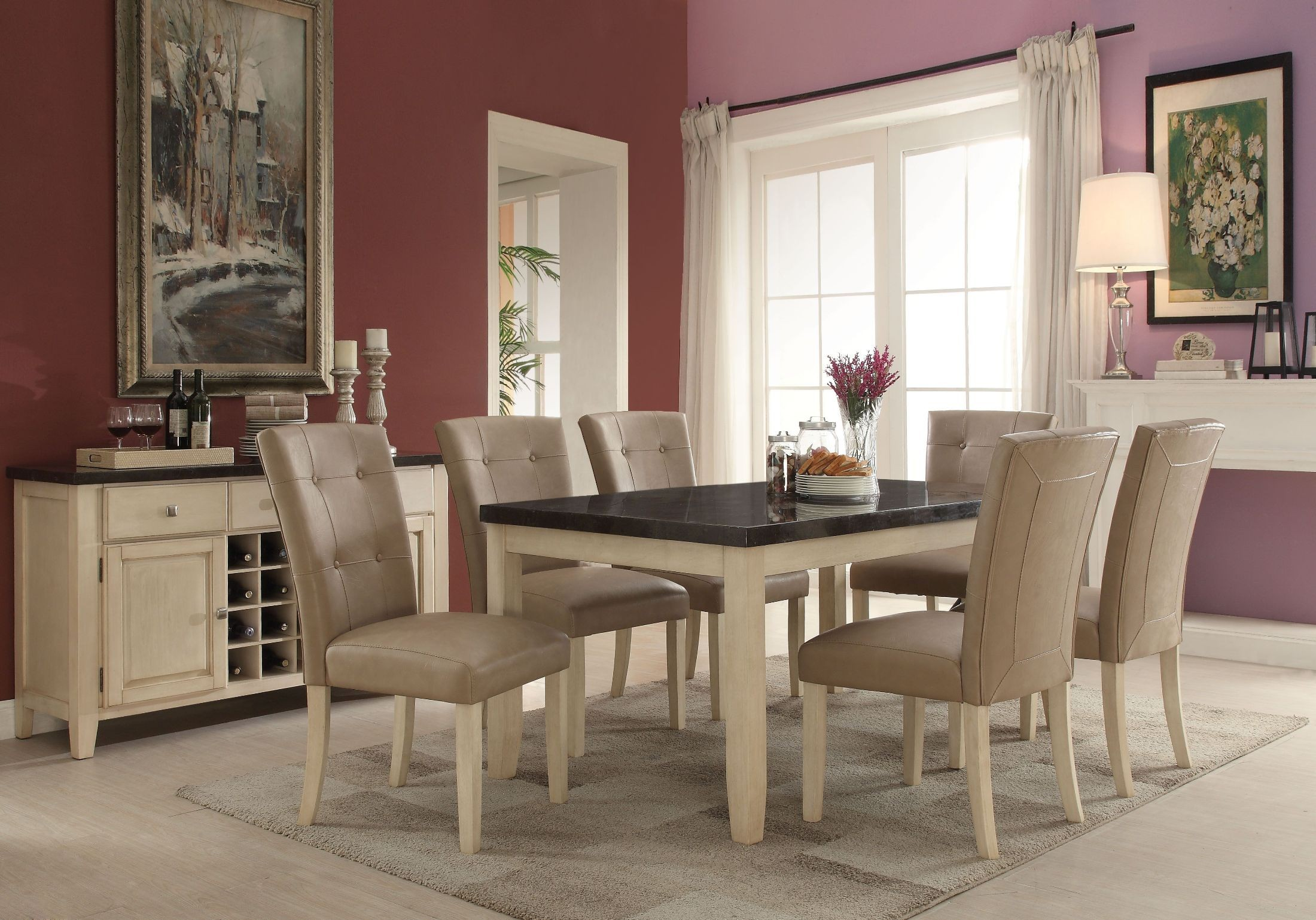 Faymoor Limestone Marble and Antique White Counter Height Dining Room Set