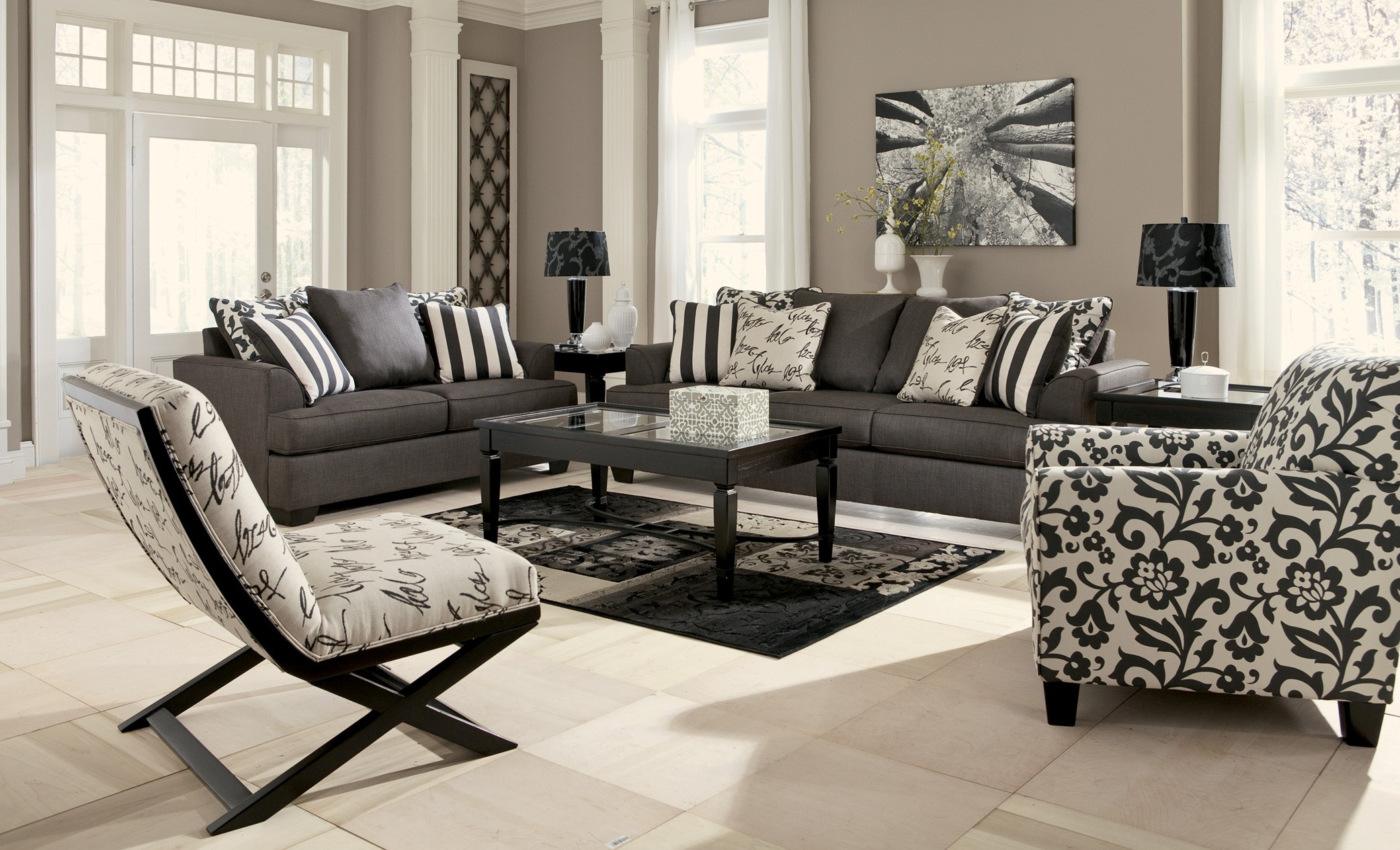 Levon Charcoal Stationary Sofa