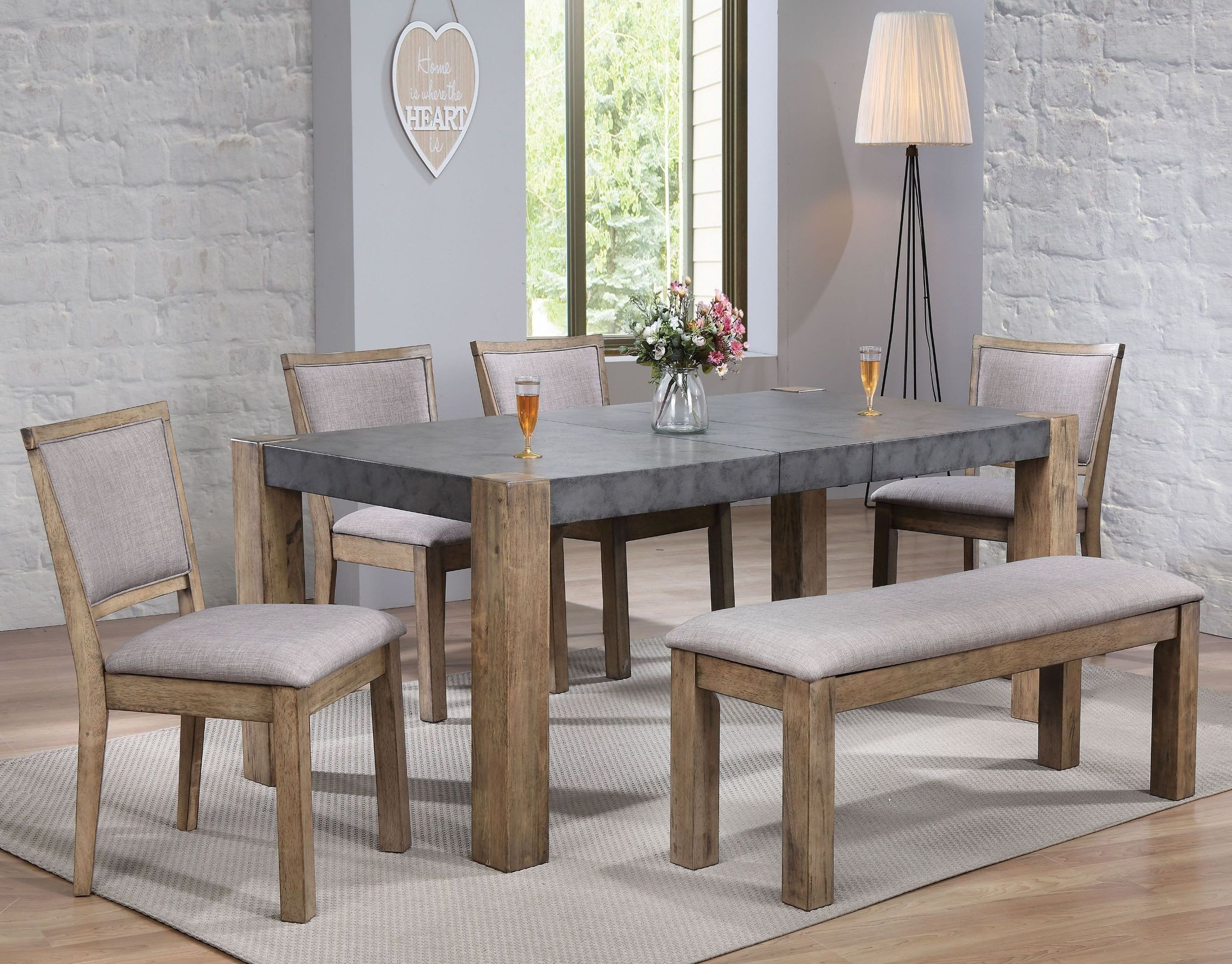 Paulina ii dark gray and rustic oak dining table media gallery 2