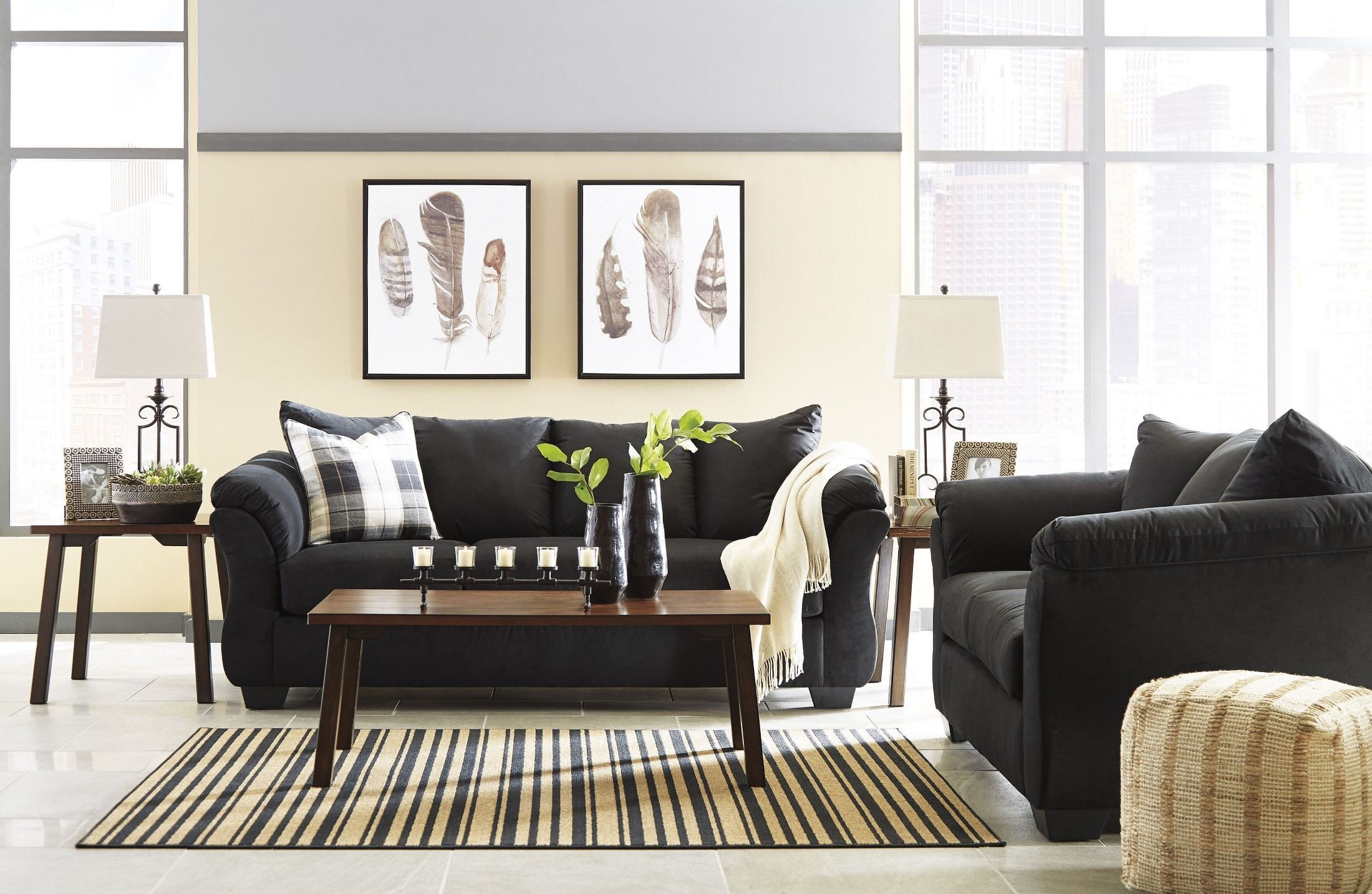 Signature design by ashley darcy black living room set - Ashley furniture living room sets 999 ...