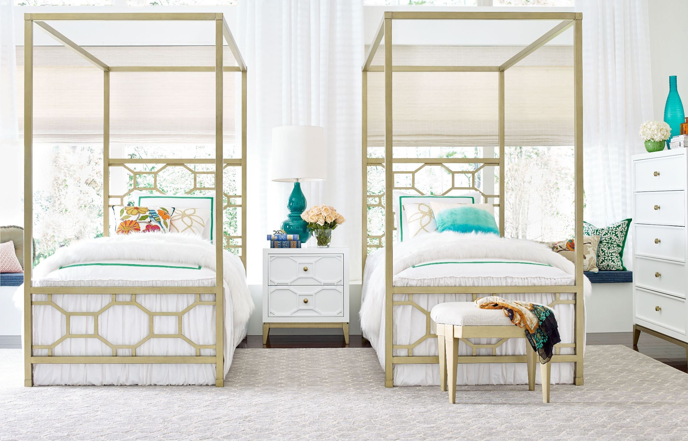 Uptown White And Gold Twin Metal Canopy Bed By Rachael Ray