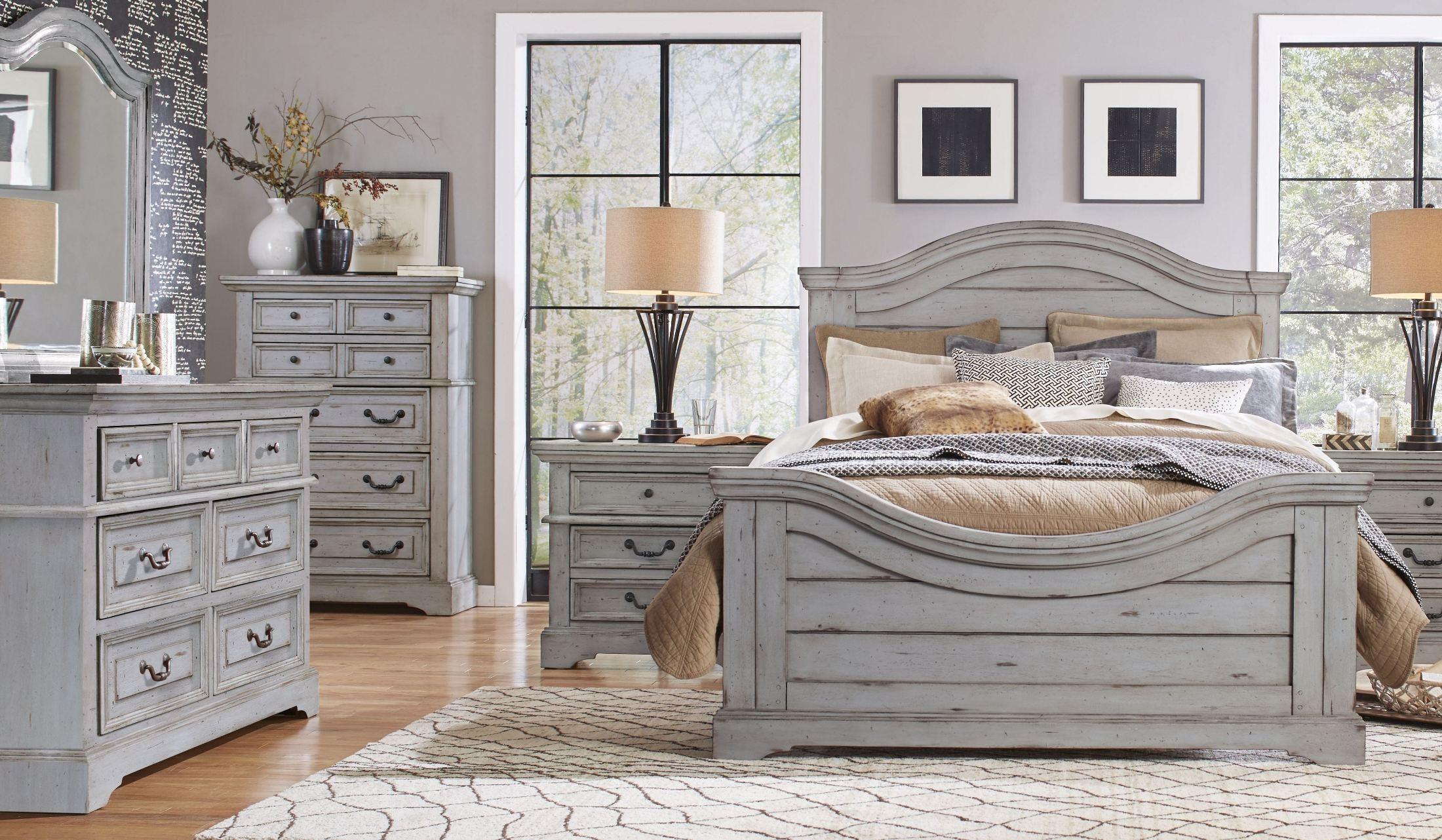 Grey Vintage Bedroom: Stonebrook Antique Gray Panel Bedroom Set