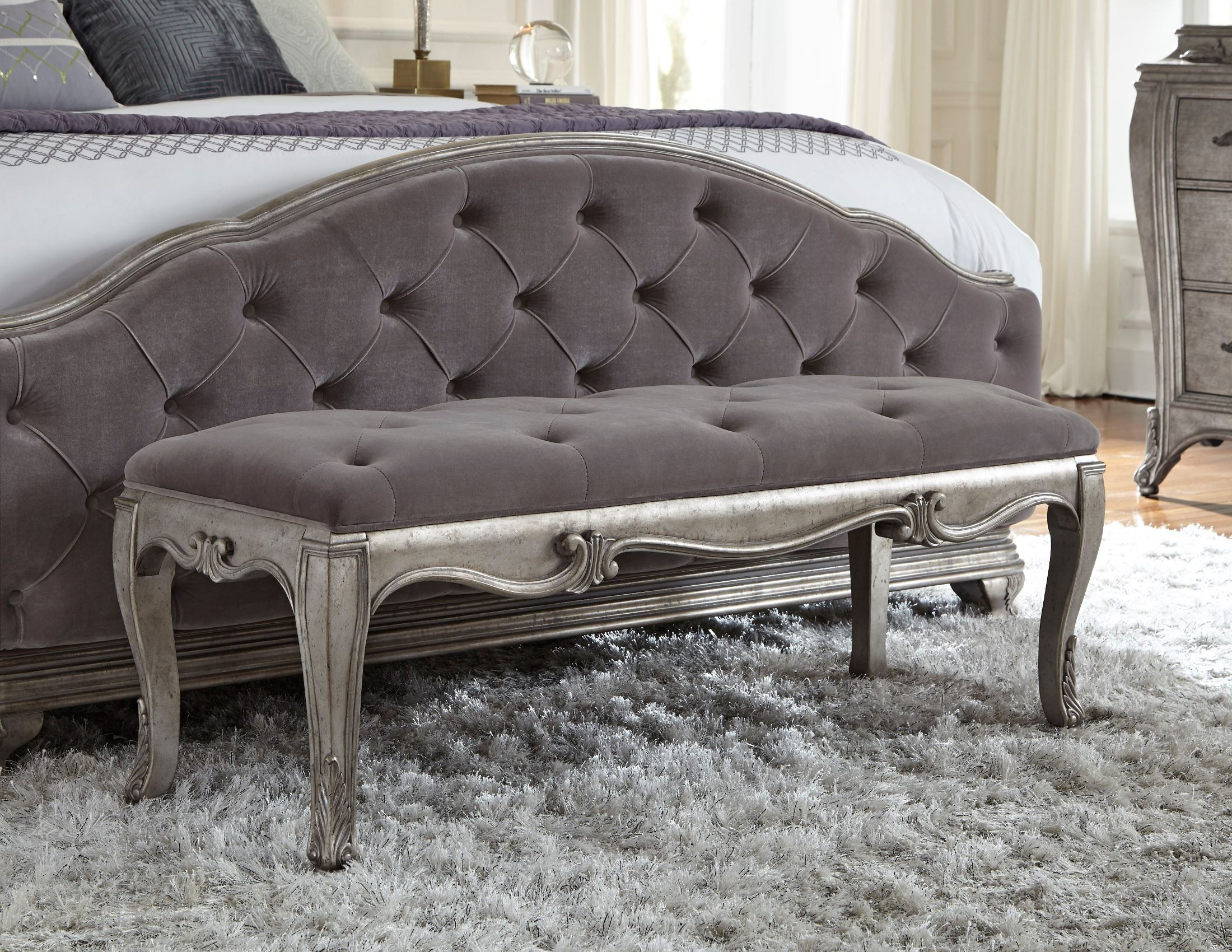 Bench By Bed: Rhianna Silver Patina Bed Bench