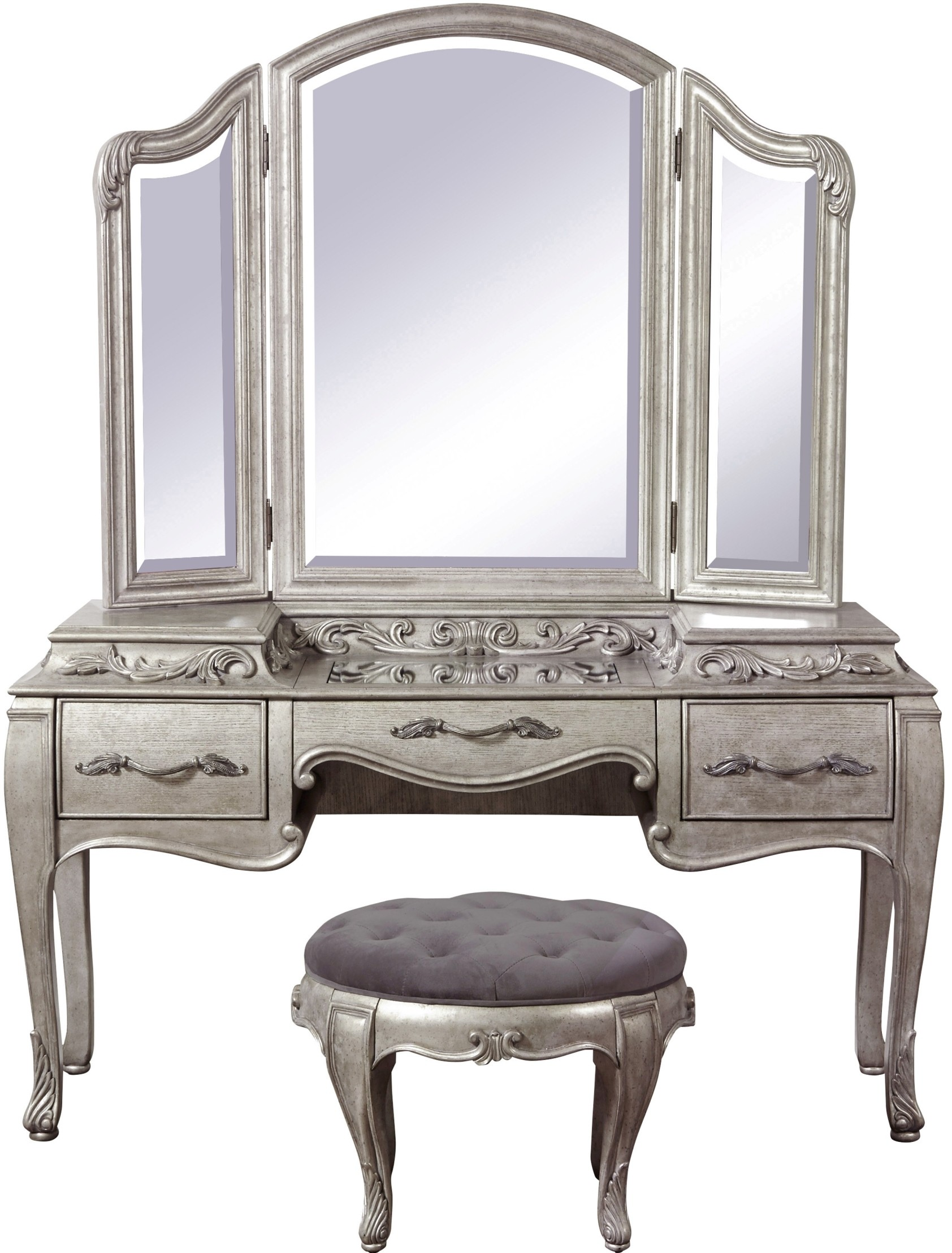Rhianna Silver Patina Upholstered Panel Bedroom Set Media Gallery 11