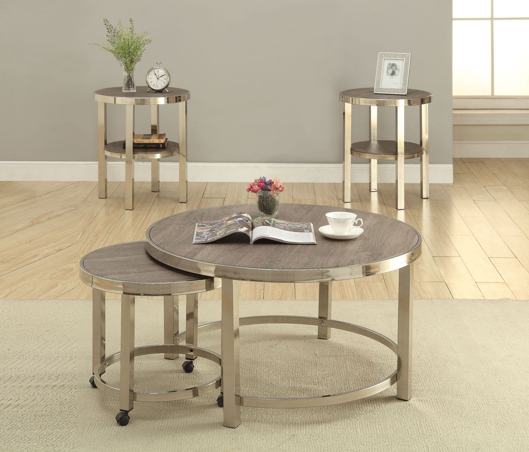 Elwyn Walnut And Brushed Nickel 2 Piece Occasional Table Set 1stopbedrooms