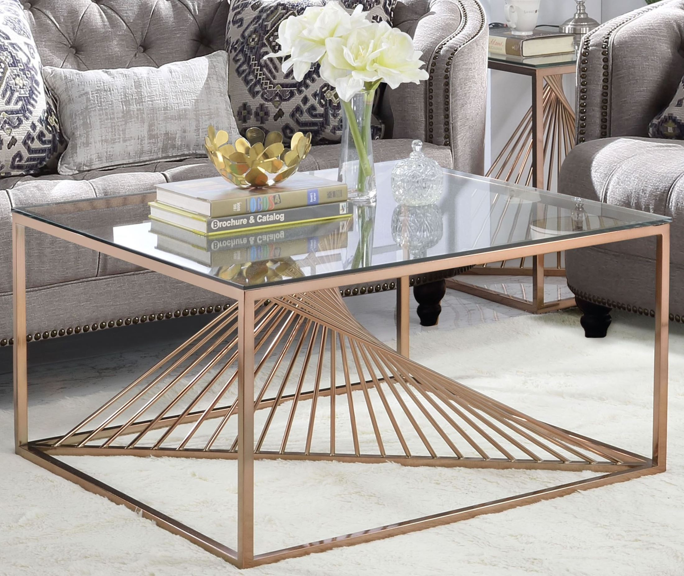 ACME Tralen Brushed Copper And Clear Glass Coffee Table