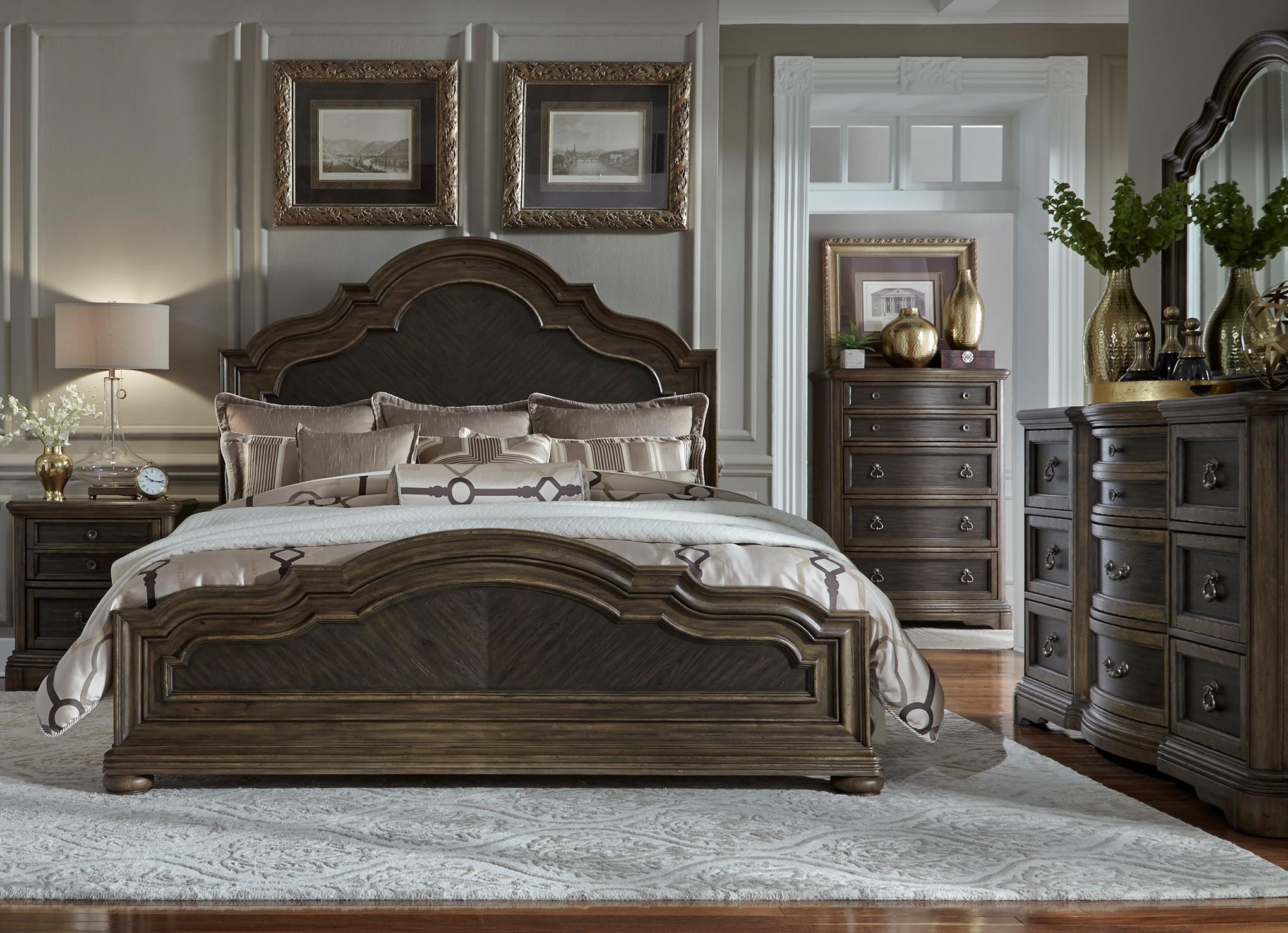 Valley Springs Brown and Beige Panel Bedroom Set