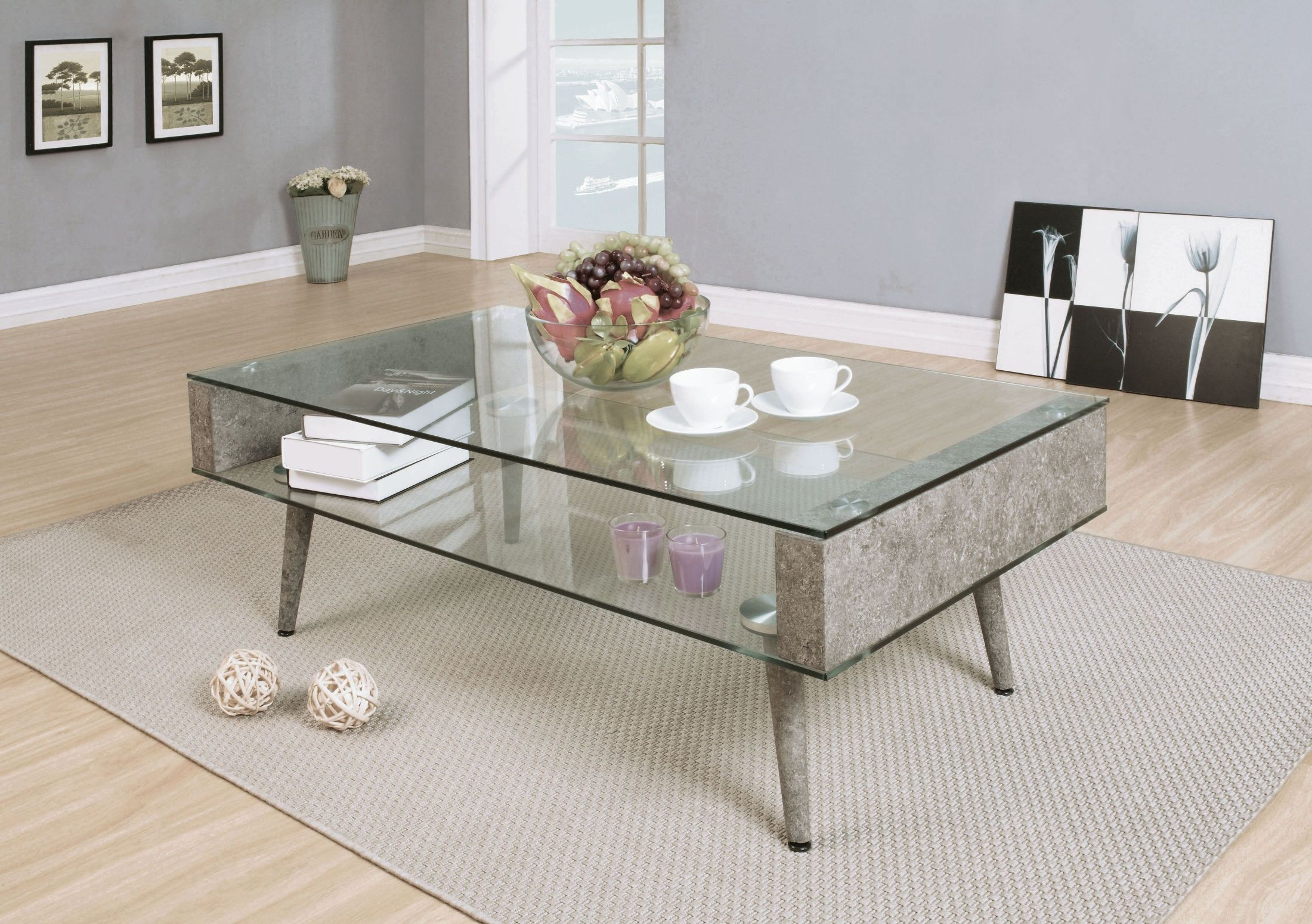 Booyd Faux Concrete And Clear Gl Coffee Table