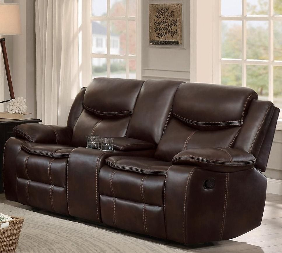 Bastrop Brown Leather Reclining Console Loveseat