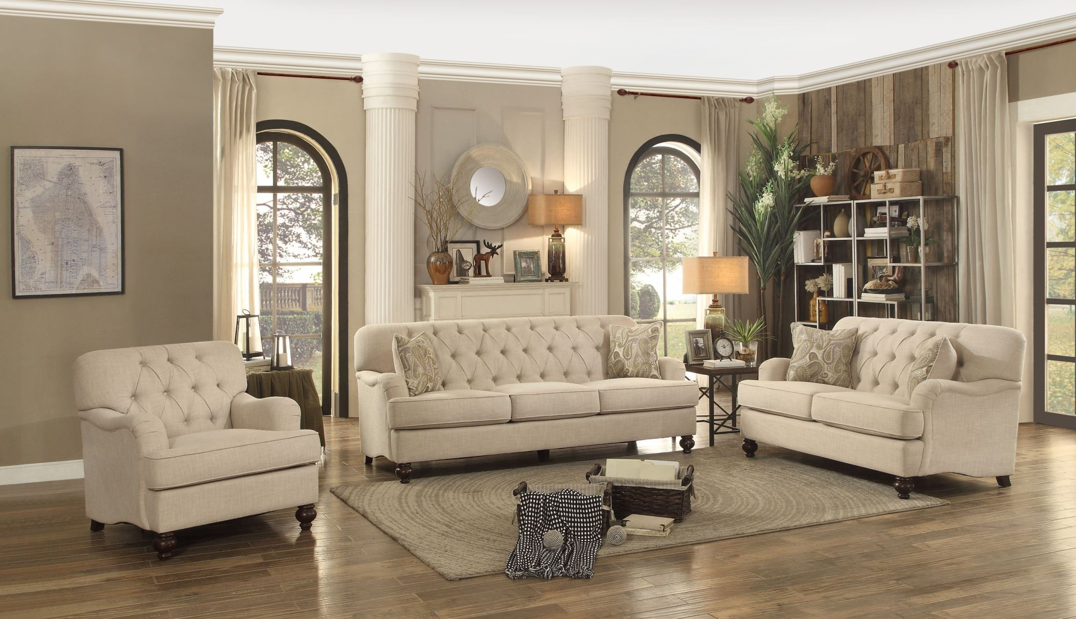 Rooms: Clemencia Natural Tone Living Room Set