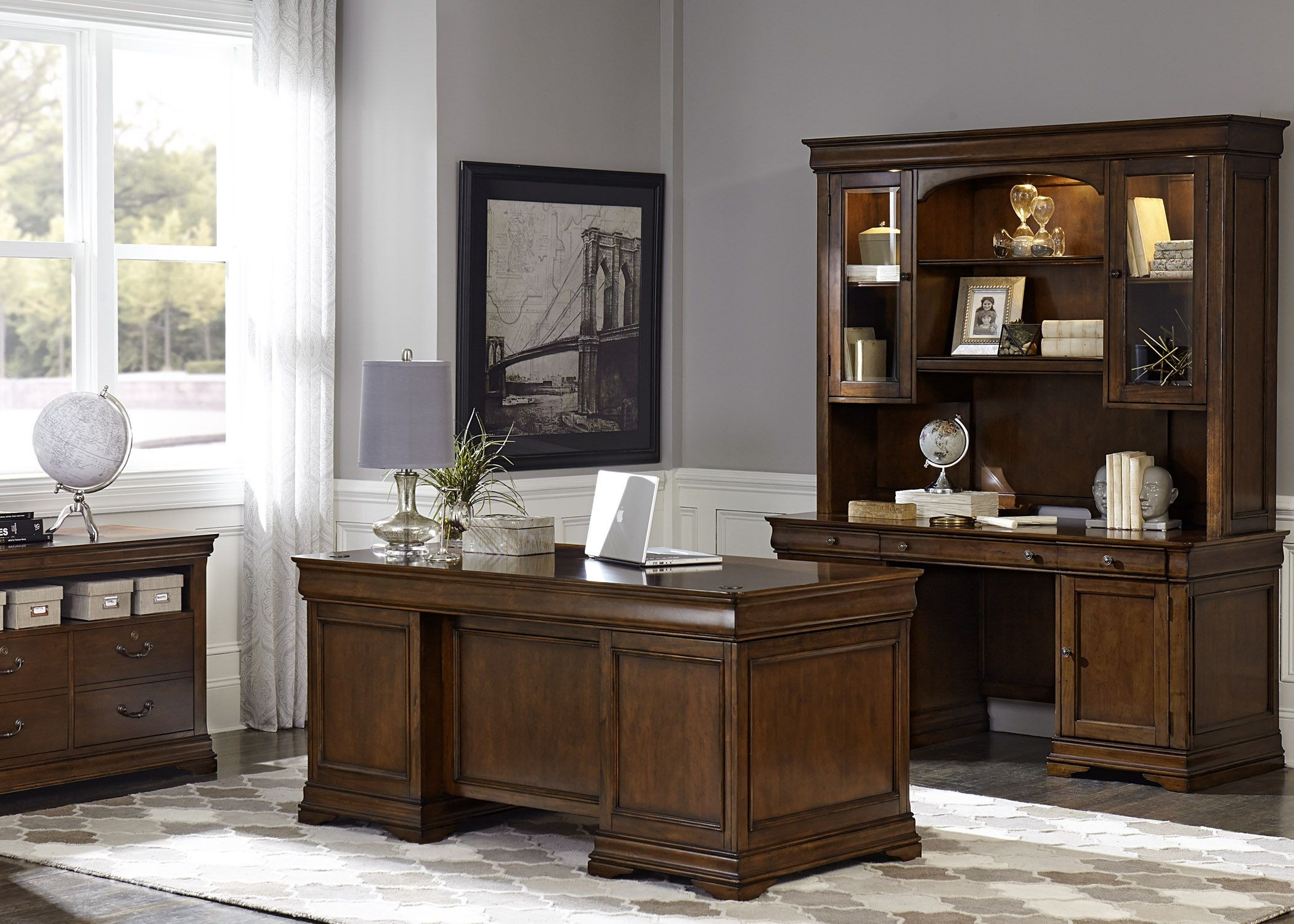 Chateau Valley Brown Cherry Home Office Set Media Gallery