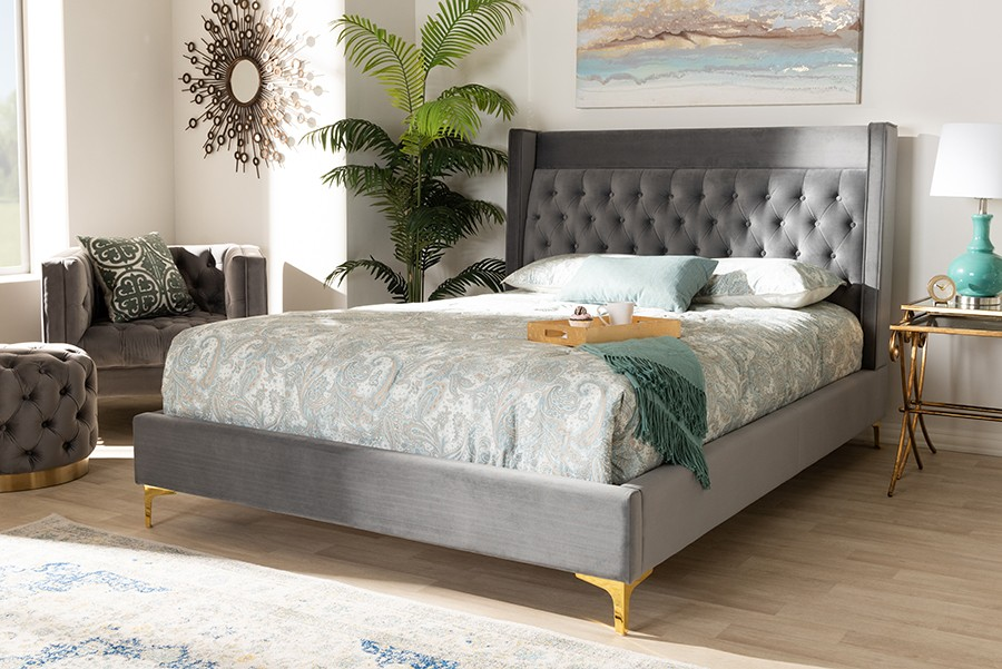 c9343bae844 ... Baxton Studio Valery Modern And Contemporary Dark Gray Velvet Fabric  Upholstered Queen Size Platform Bed With ...