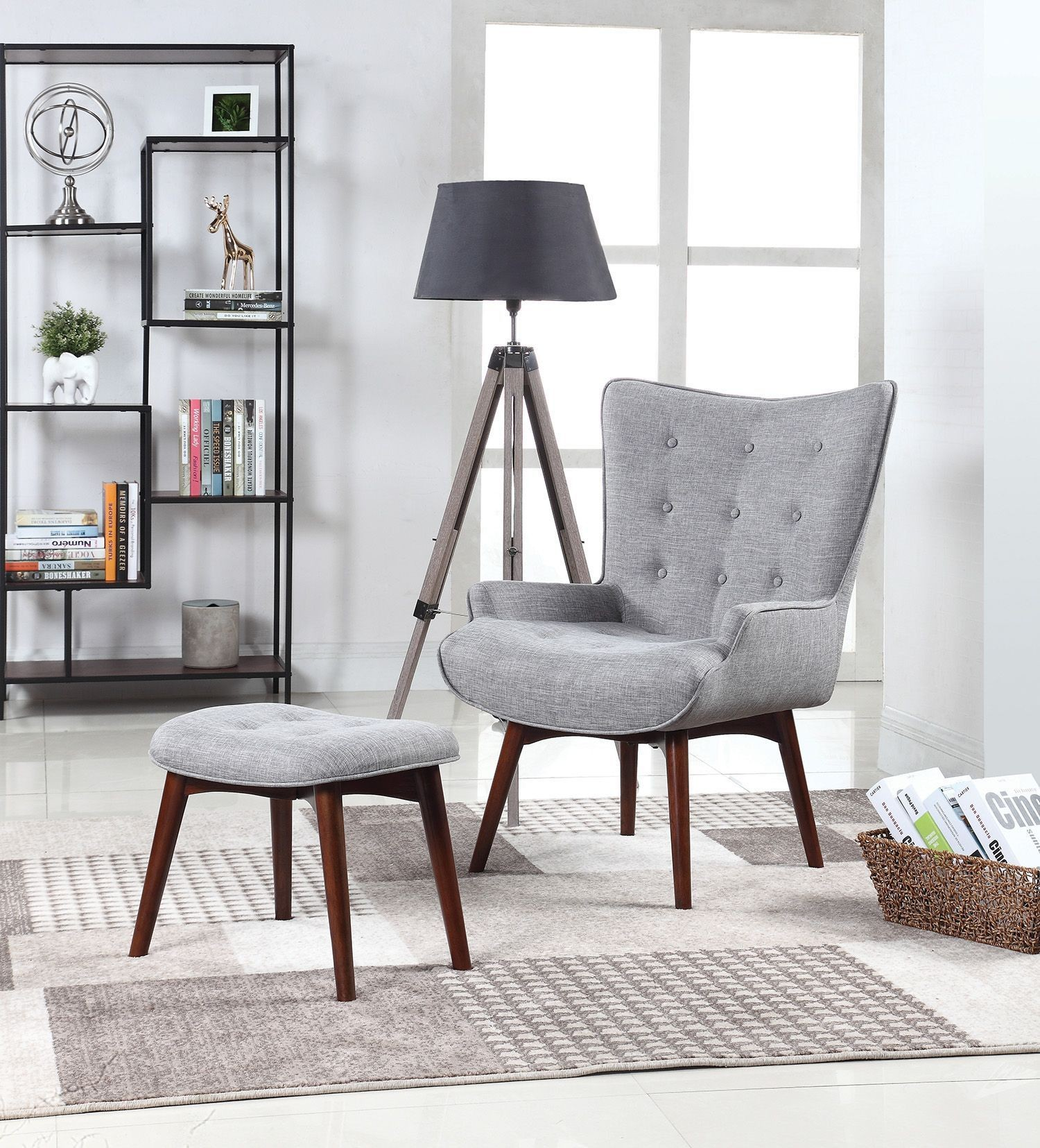 Living Room With Mismatched Accent Chairs: Gray Accent Chair With Ottoman By Scott Living