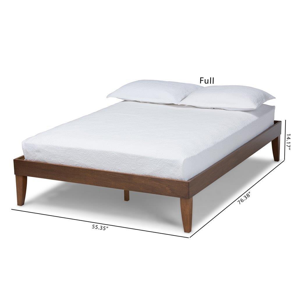 Lucina Mid Century Modern Walnut Brown Finished Full Size Platform Bed Frame 1stopbedrooms
