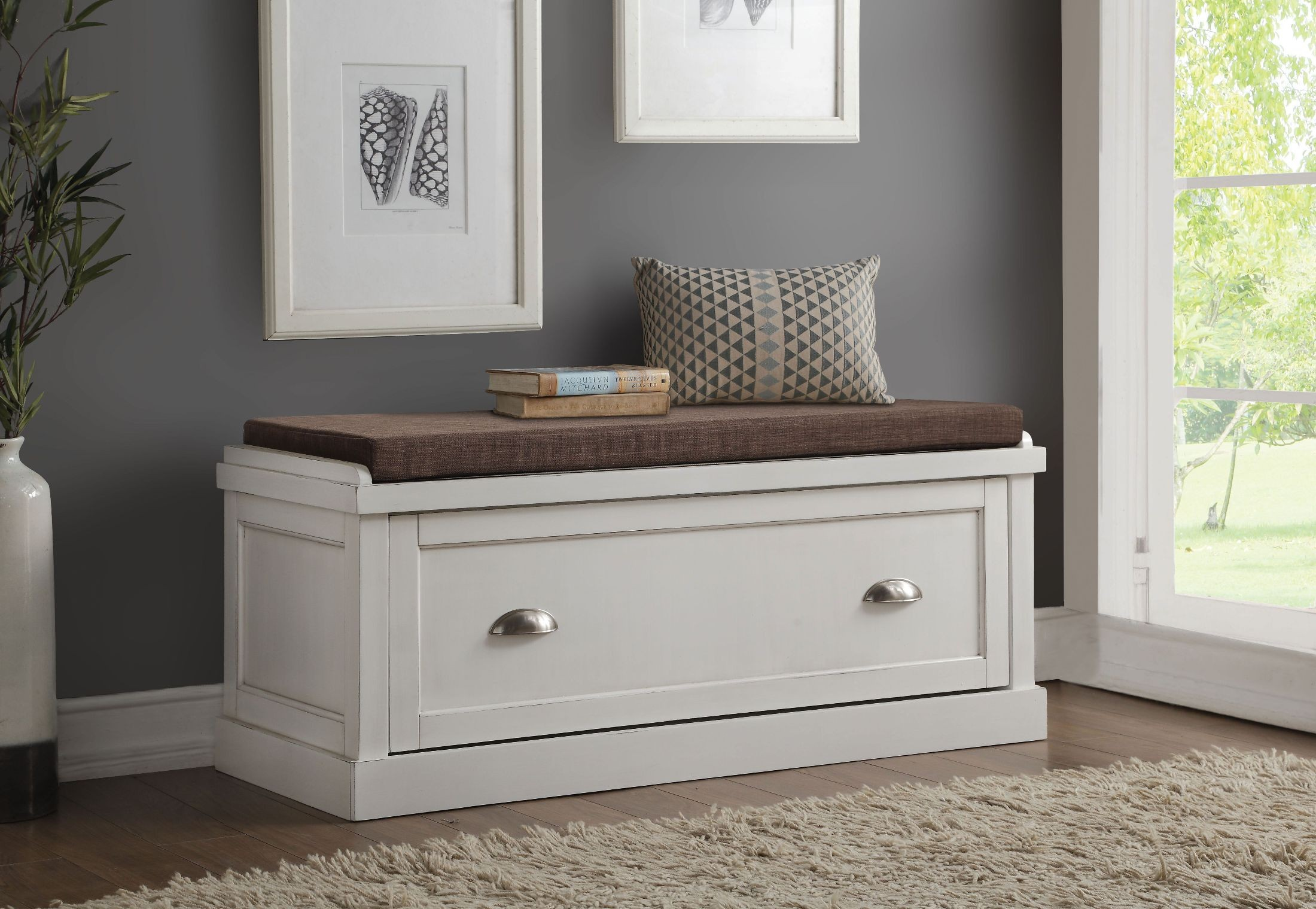 Aislins White Washed Storage Bench