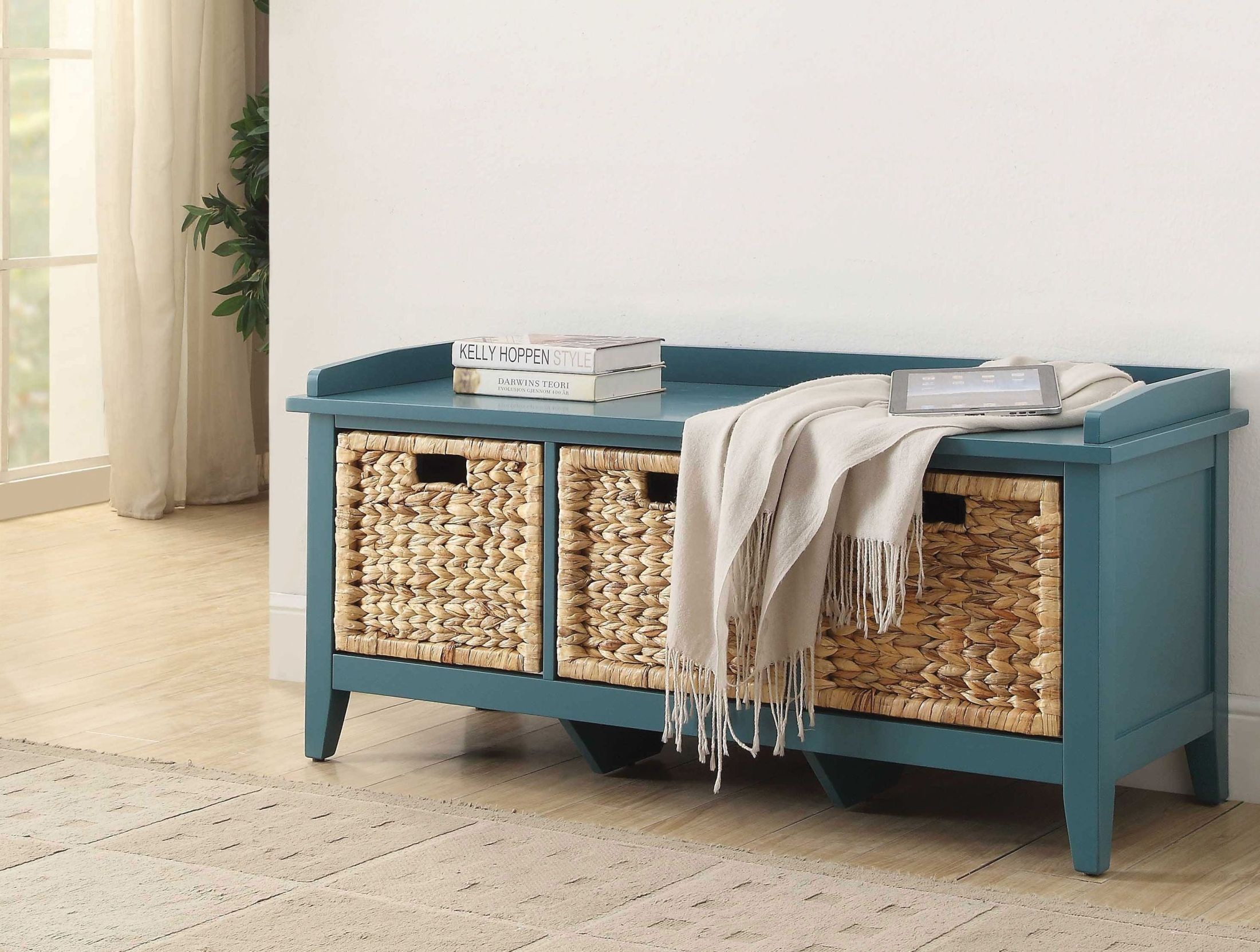 Flavius Teal Storage Bench 1stopbedrooms