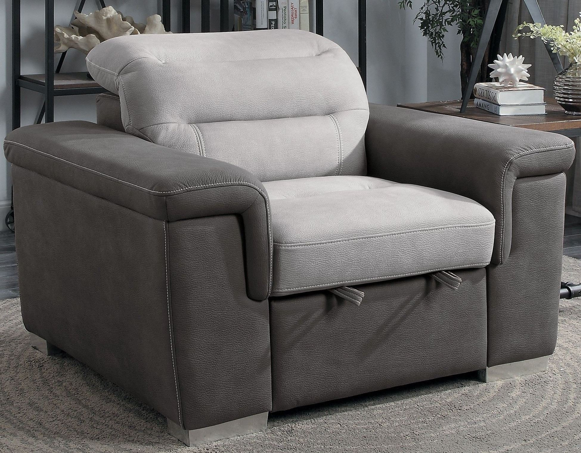 Alfio Two Tone Chair With Pull Out Ottoman 1stopbedrooms