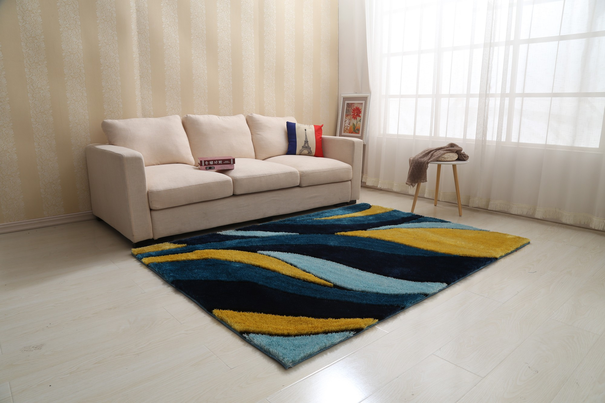 Picture of: Aria Yellow And Navy Blue Soft Pile Shaggy Area Rug 8 X 11 1stopbedrooms