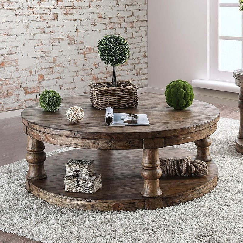 Antique White And Oak Coffee Tables: Furniture Of America Mika Coffee Table (Antique Oak