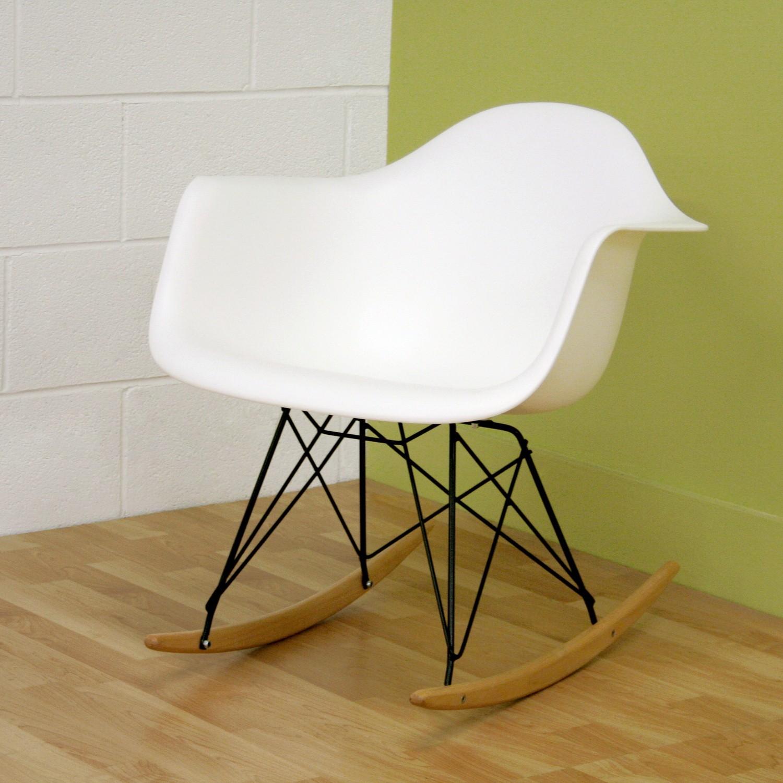 Admirable Baxton Studio Dario White Plastic Mid Century Modern Rocking Chair Forskolin Free Trial Chair Design Images Forskolin Free Trialorg
