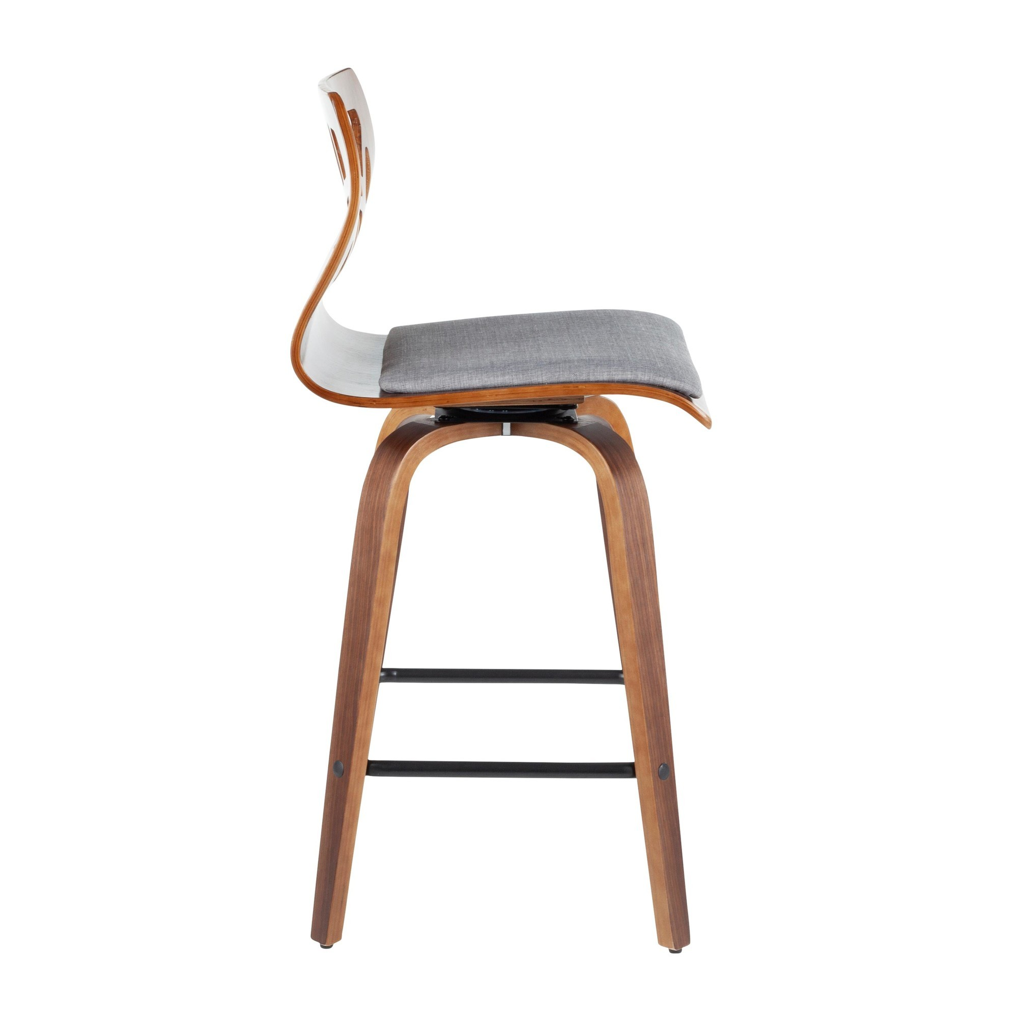 Awe Inspiring Folia Modern Counter Stool In Walnut Wood And Light Grey Fabric Set Of 2 Pdpeps Interior Chair Design Pdpepsorg