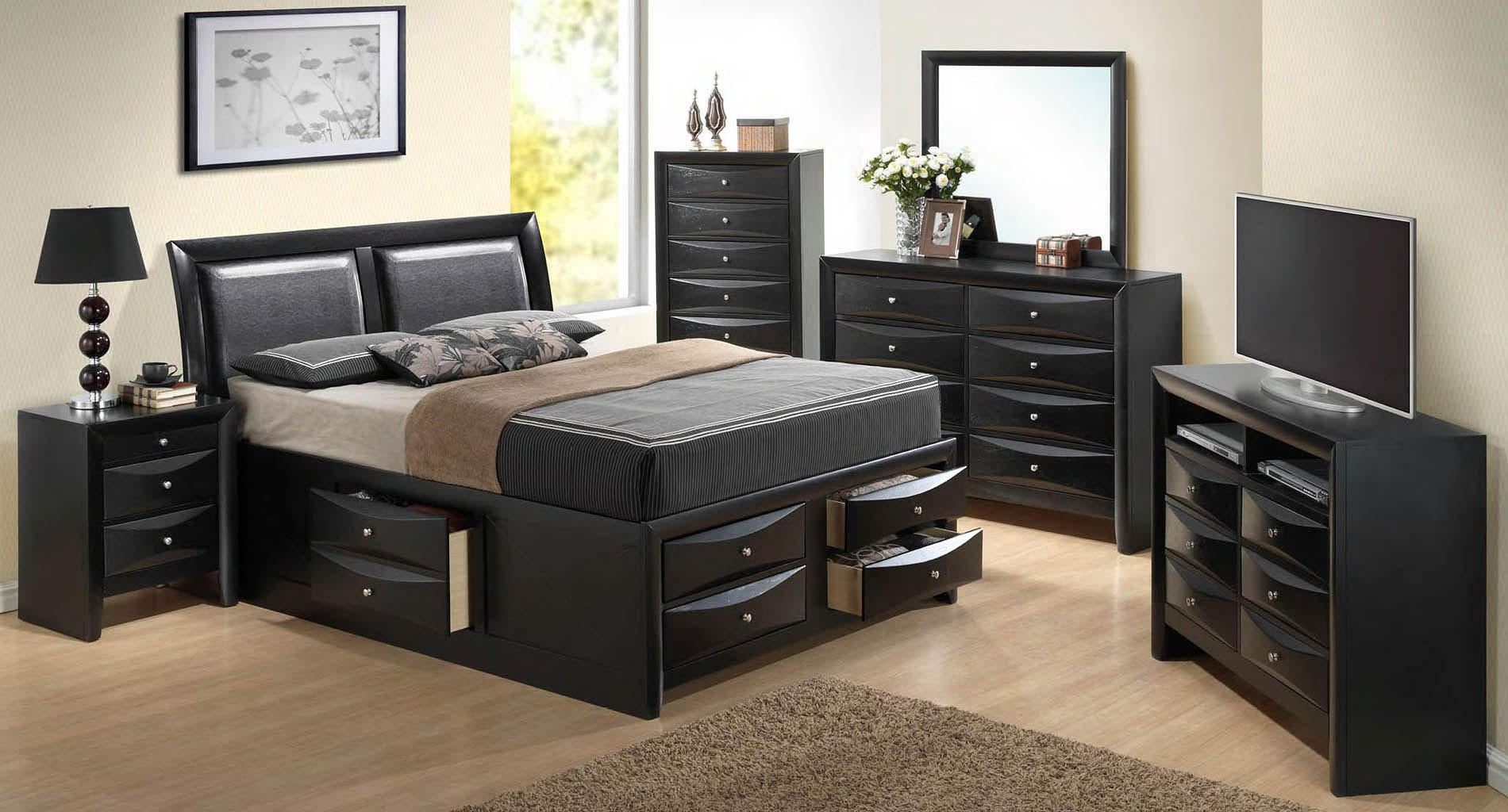 Glory g1500i youth storage bedroom set g1500 collection - Youth bedroom furniture with storage ...