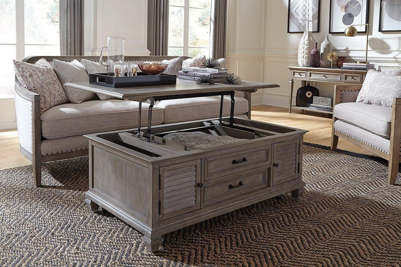 Lancaster Dovetail Grey Lift Top Storage Cocktail Table with Casters - 1StopBedrooms.