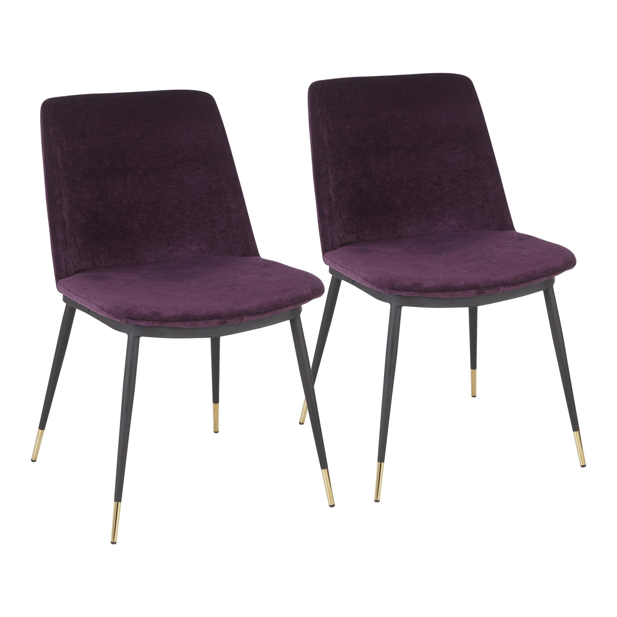 Wanda Chair With Black Metal Legs With Gold Accent And Purple Fabric 1stopbedrooms