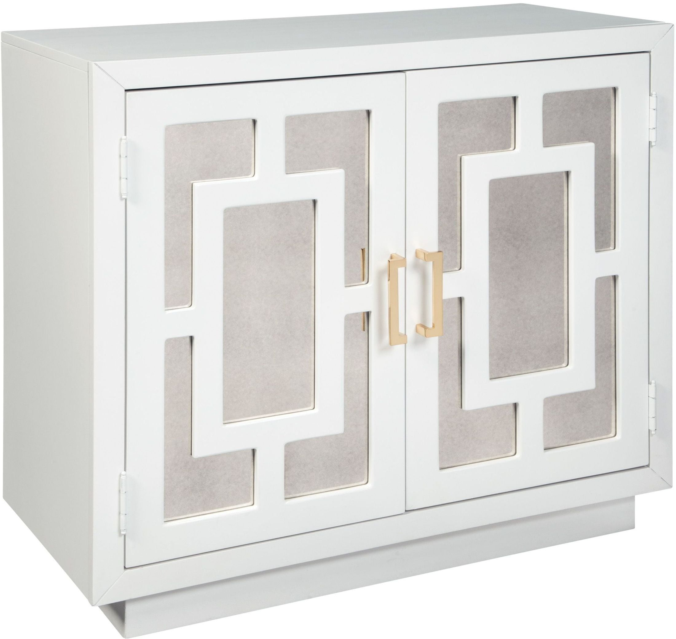 Walentin Accent Cabinet By Ashley Furniture: Walentin White Geometric Pattern Accent Cabinet