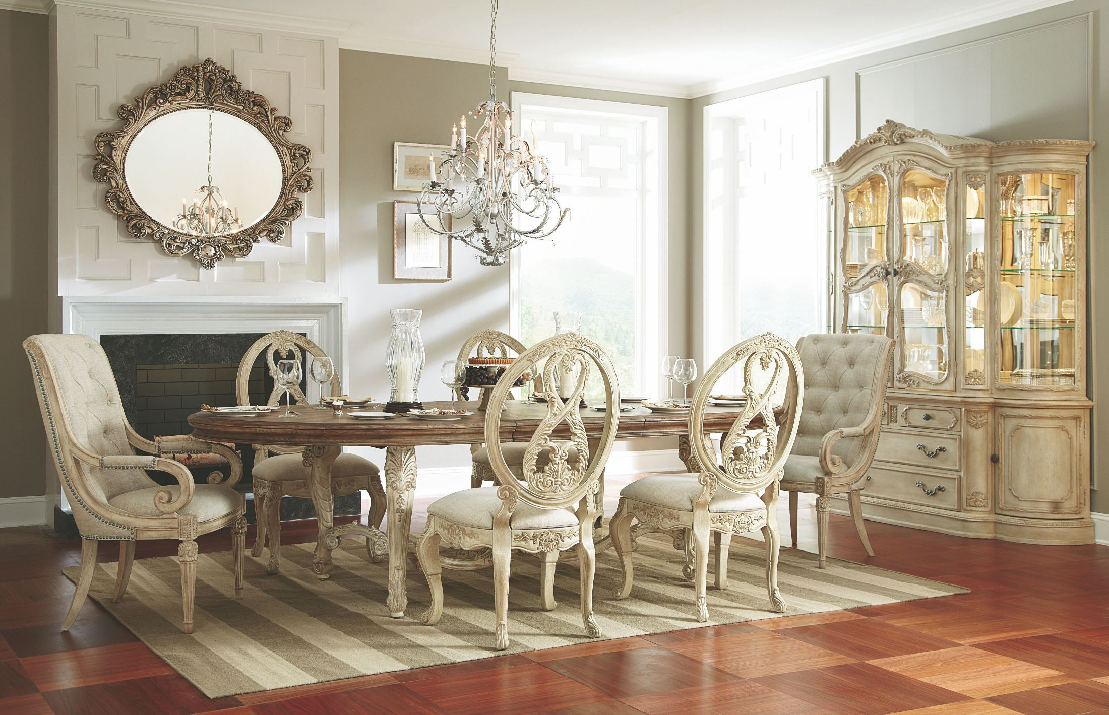 Jessica Mcclintock Boutique White Veil Oval Dining Room Set