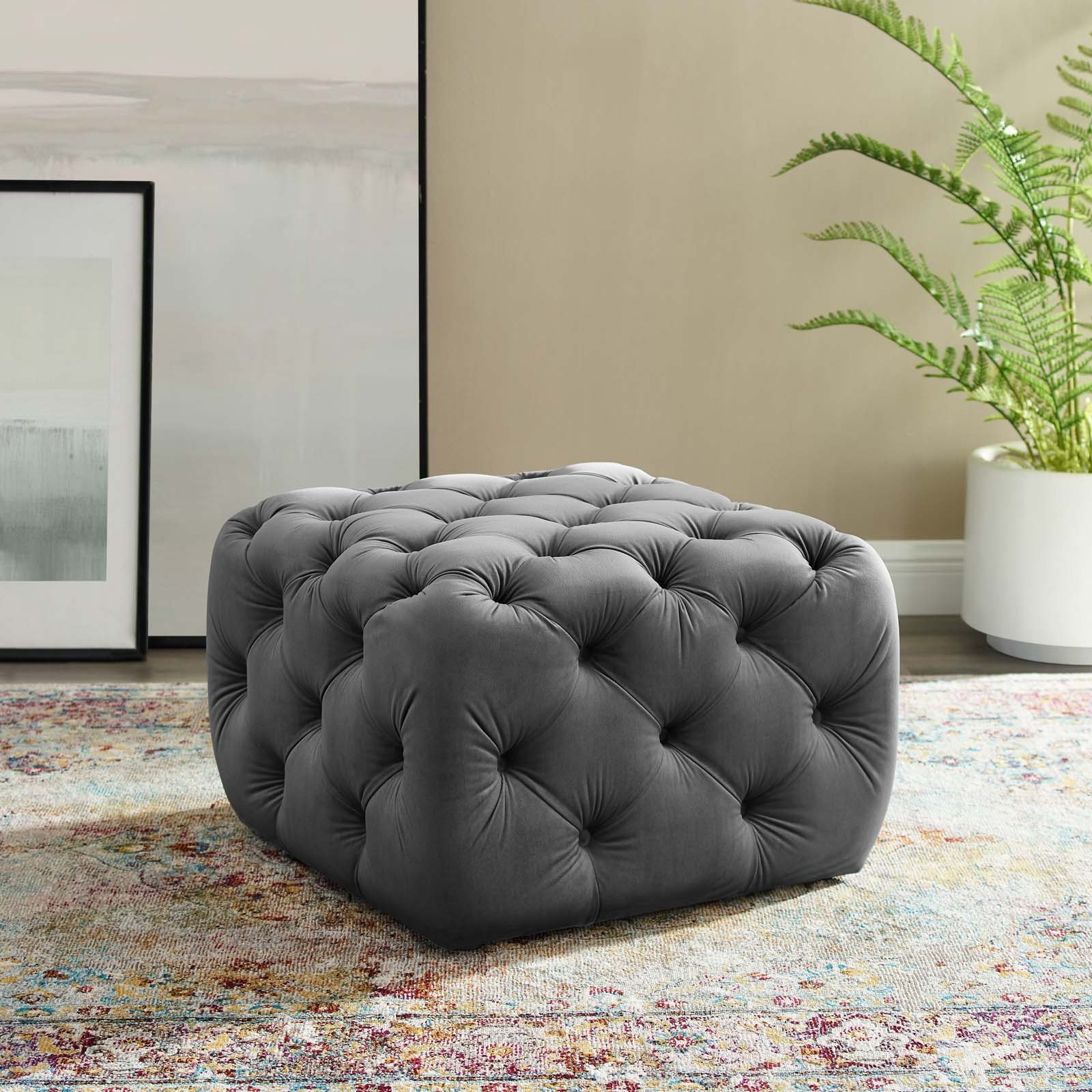 Anthem Kitchen And Bar: Anthem Gray Tufted Button Square Performance Velvet