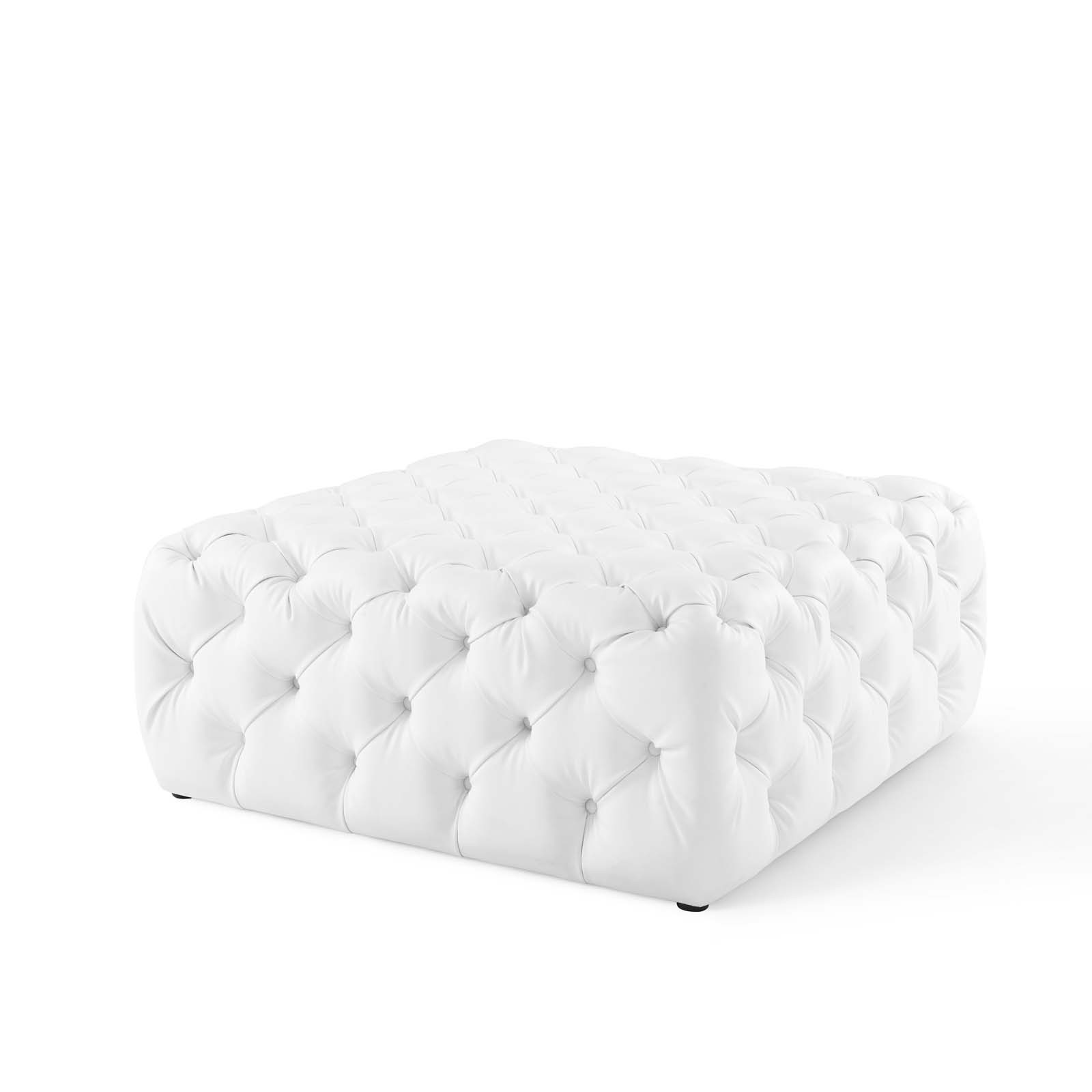 Anthem Kitchen And Bar: Anthem White Tufted Button Large Square Faux Leather
