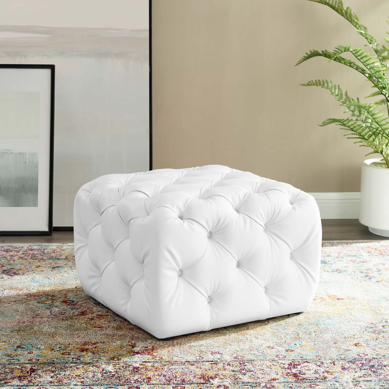 Anthem Kitchen And Bar: Anthem White Tufted Button Square Faux Leather Ottoman EEI