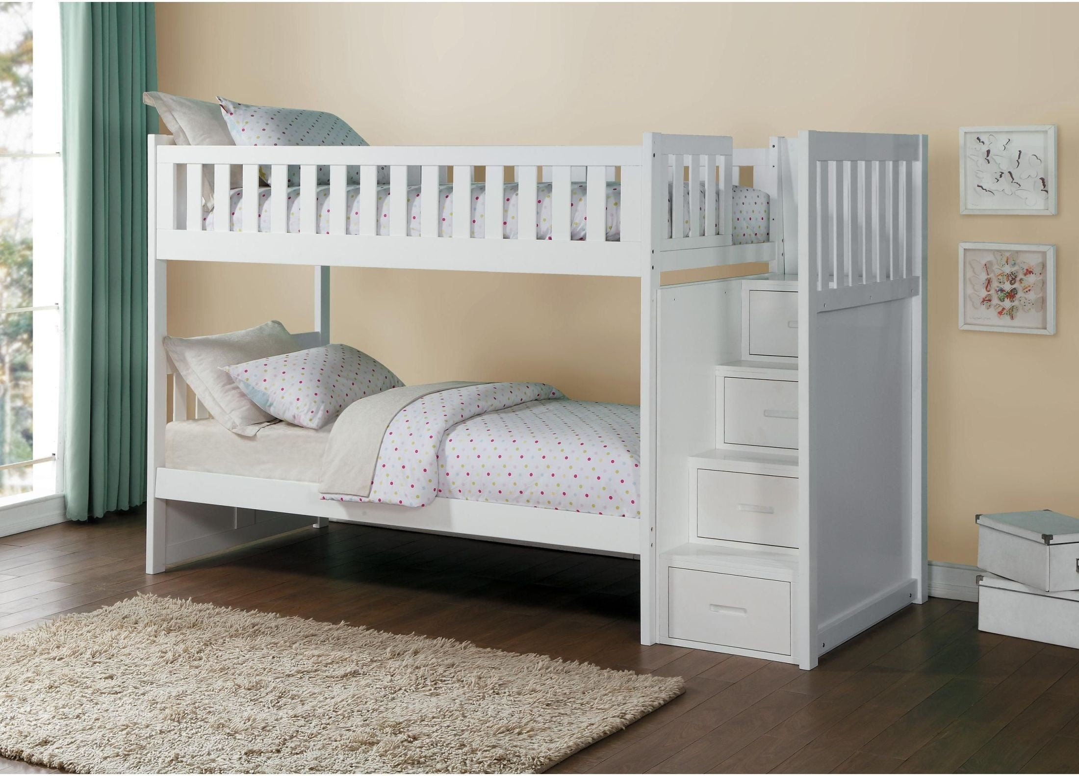 Picture of: Galen White Twin Over Twin Bunk Bed With Storage Staircase 1stopbedrooms