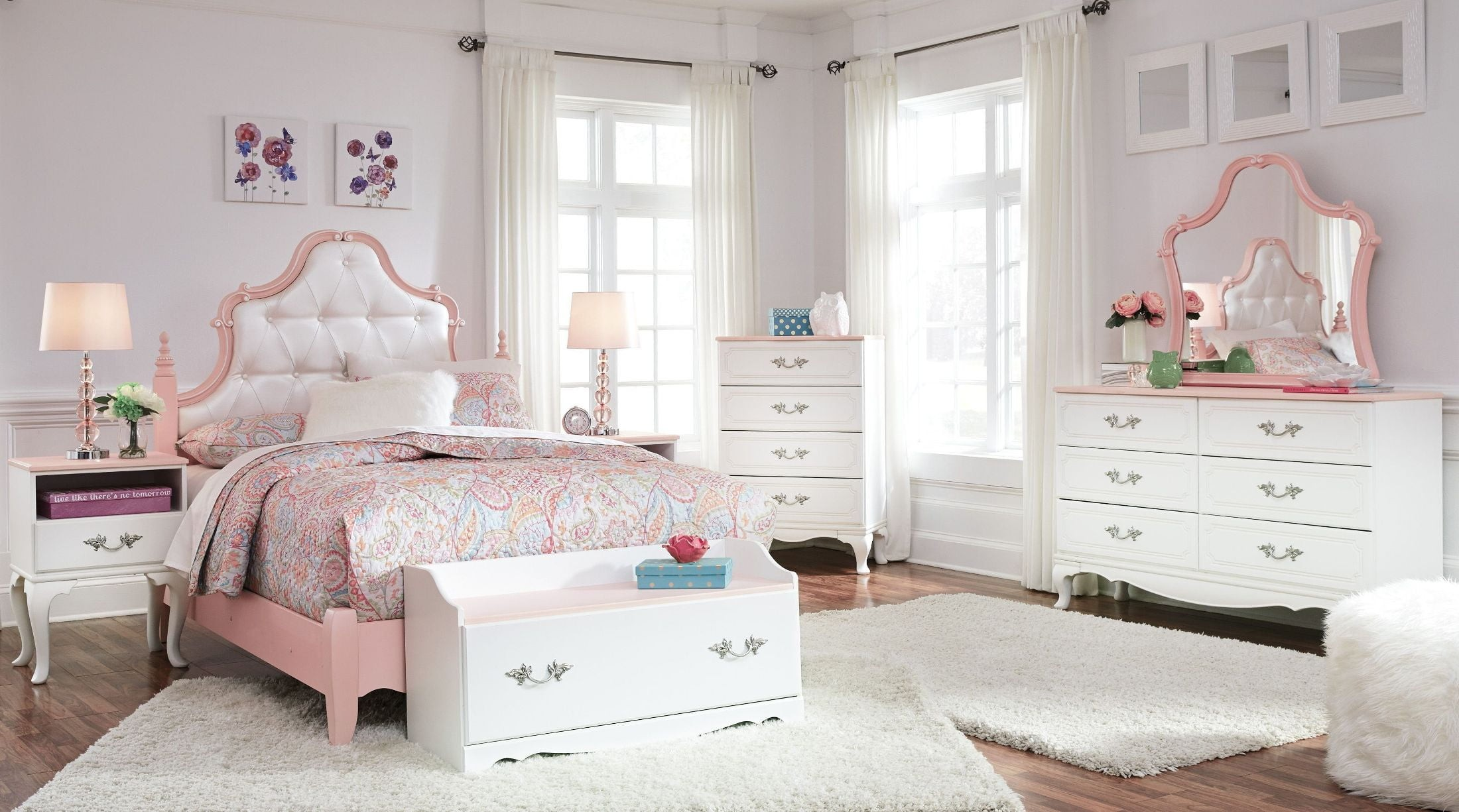 Laddi White And Pink Bedroom Mirror Media Gallery 10