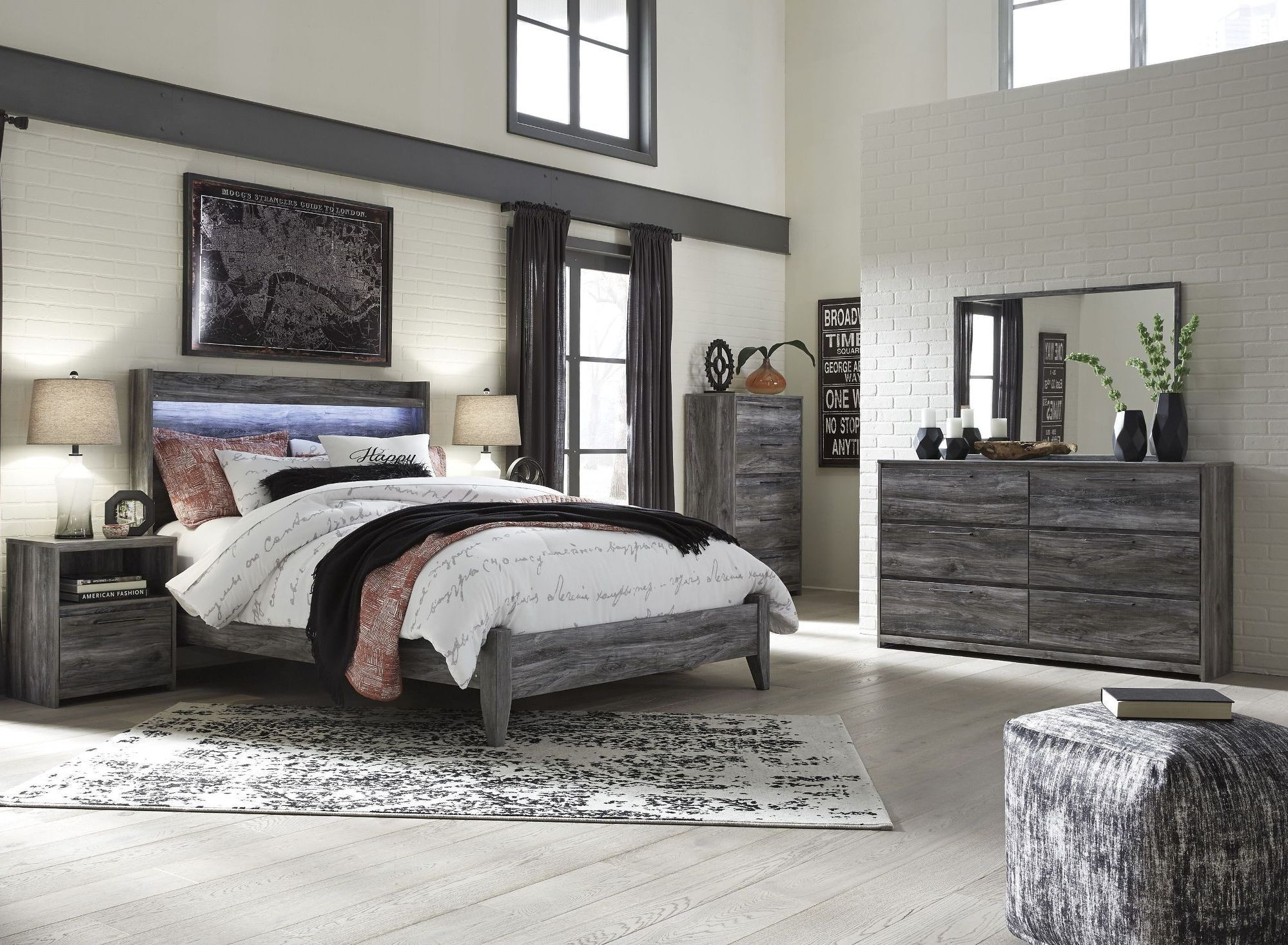 Baystorm gray panel bedroom set 1stopbedrooms - Bedroom furniture sets buy now pay later ...