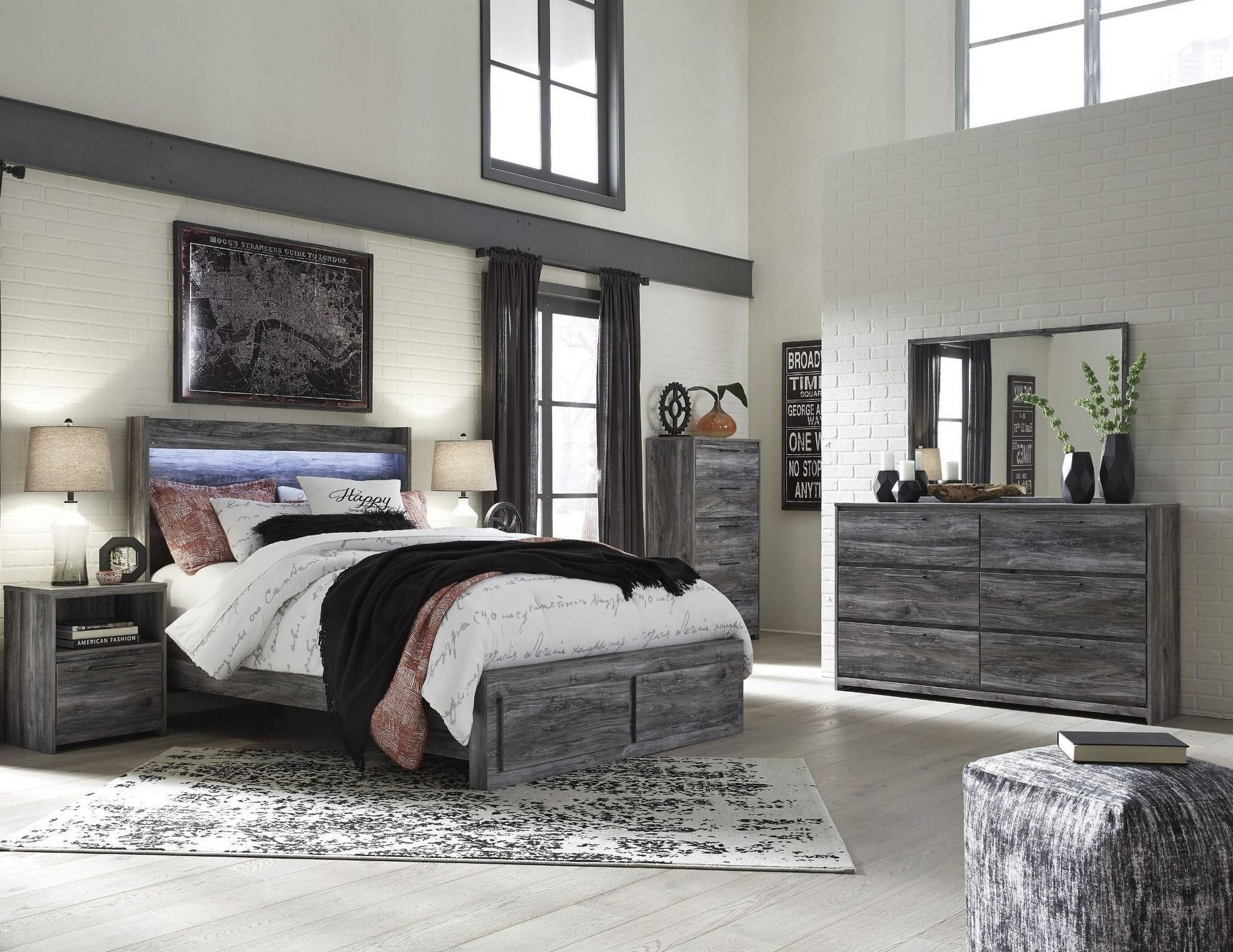 Baystorm Gray Platform Storage Bedroom Set