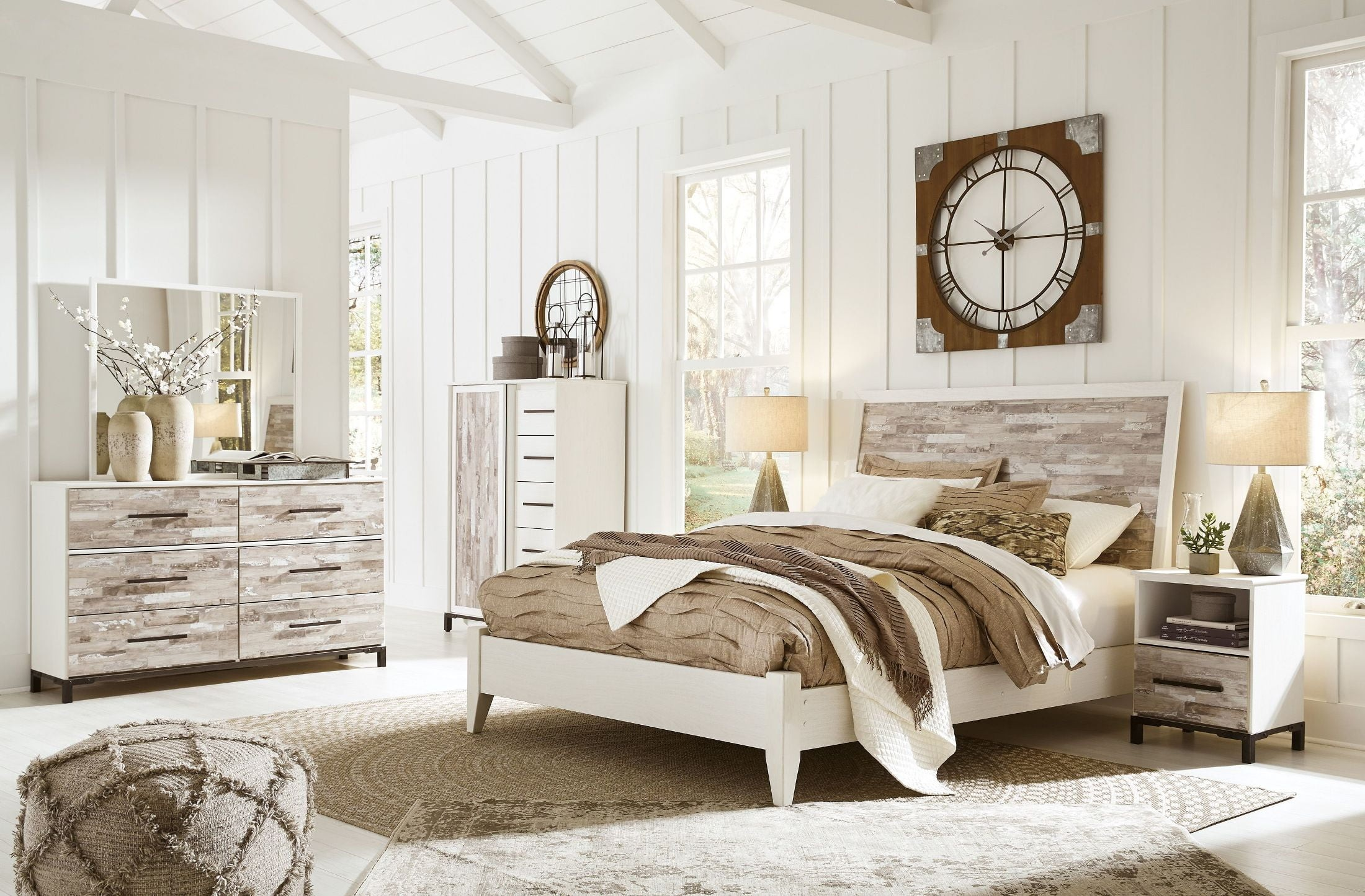 Evanni Cream And Gray Panel Bedroom Set 1stopbedrooms