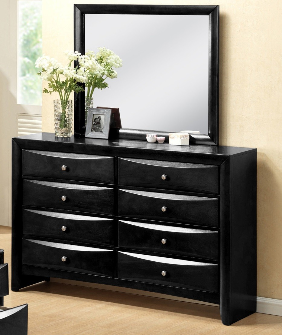 Crown Mark Furniture Emily Dresser Mirror in Black B4280-11