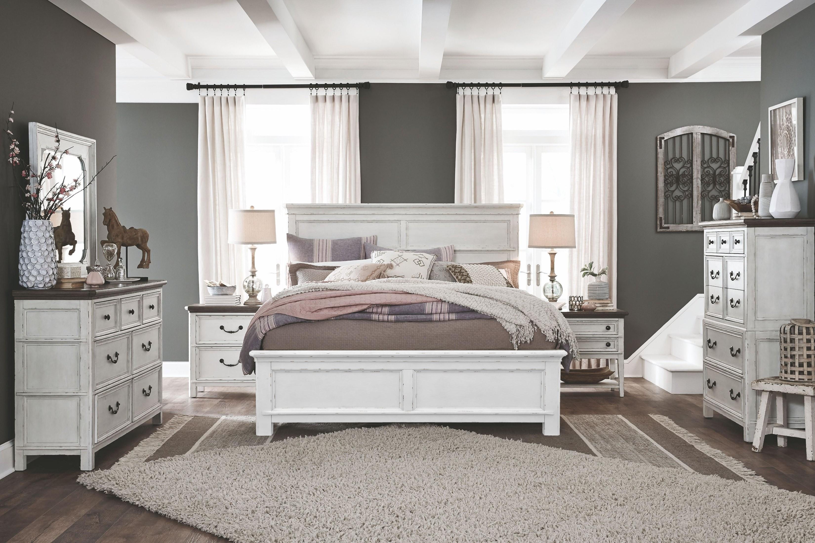 Bellevue Manor Weathered Shutter White Panel Bedroom Set 1stopbedrooms