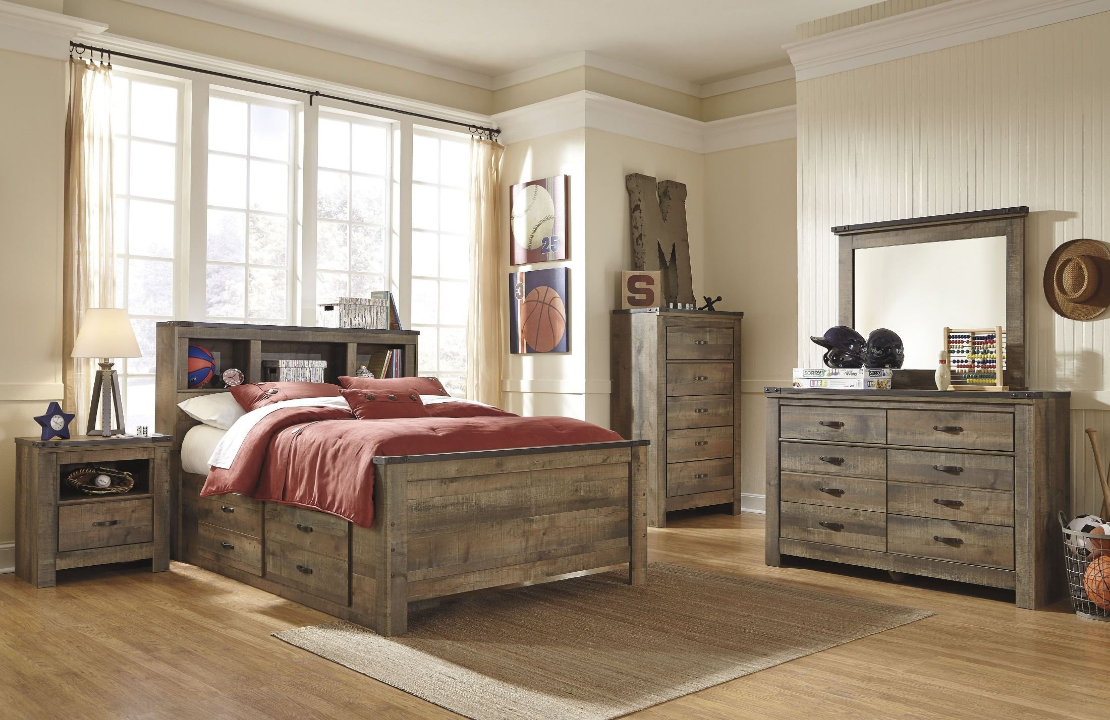 Trinell Brown Youth Bookcase Storage Bedroom Set 1stopbedrooms