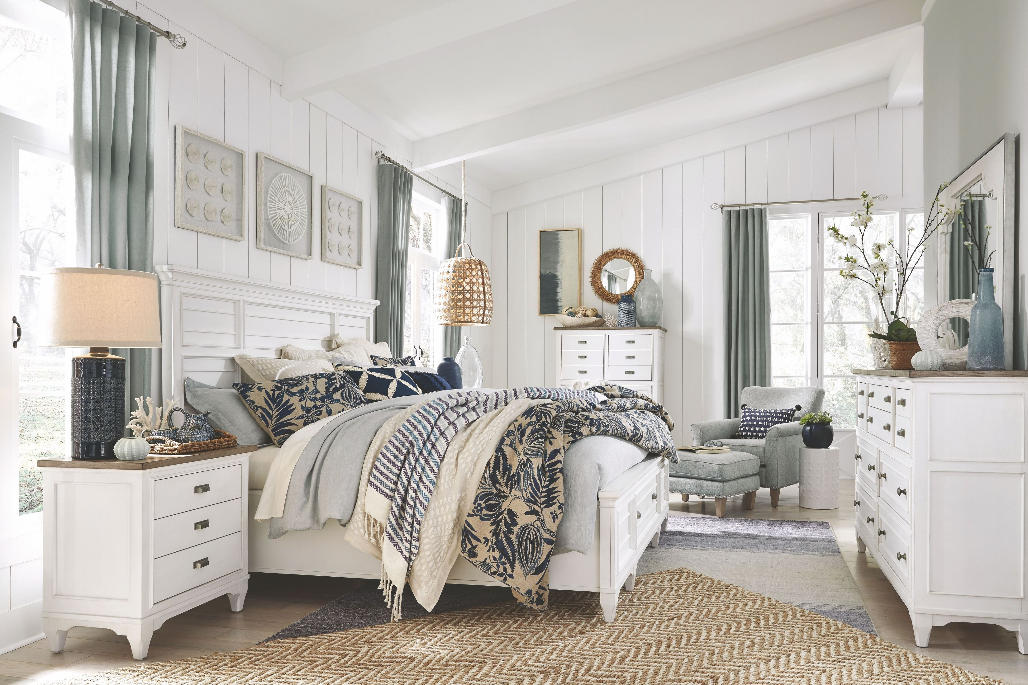 Alys Beach Cultured Pearl White Panel Storage Bedroom Set