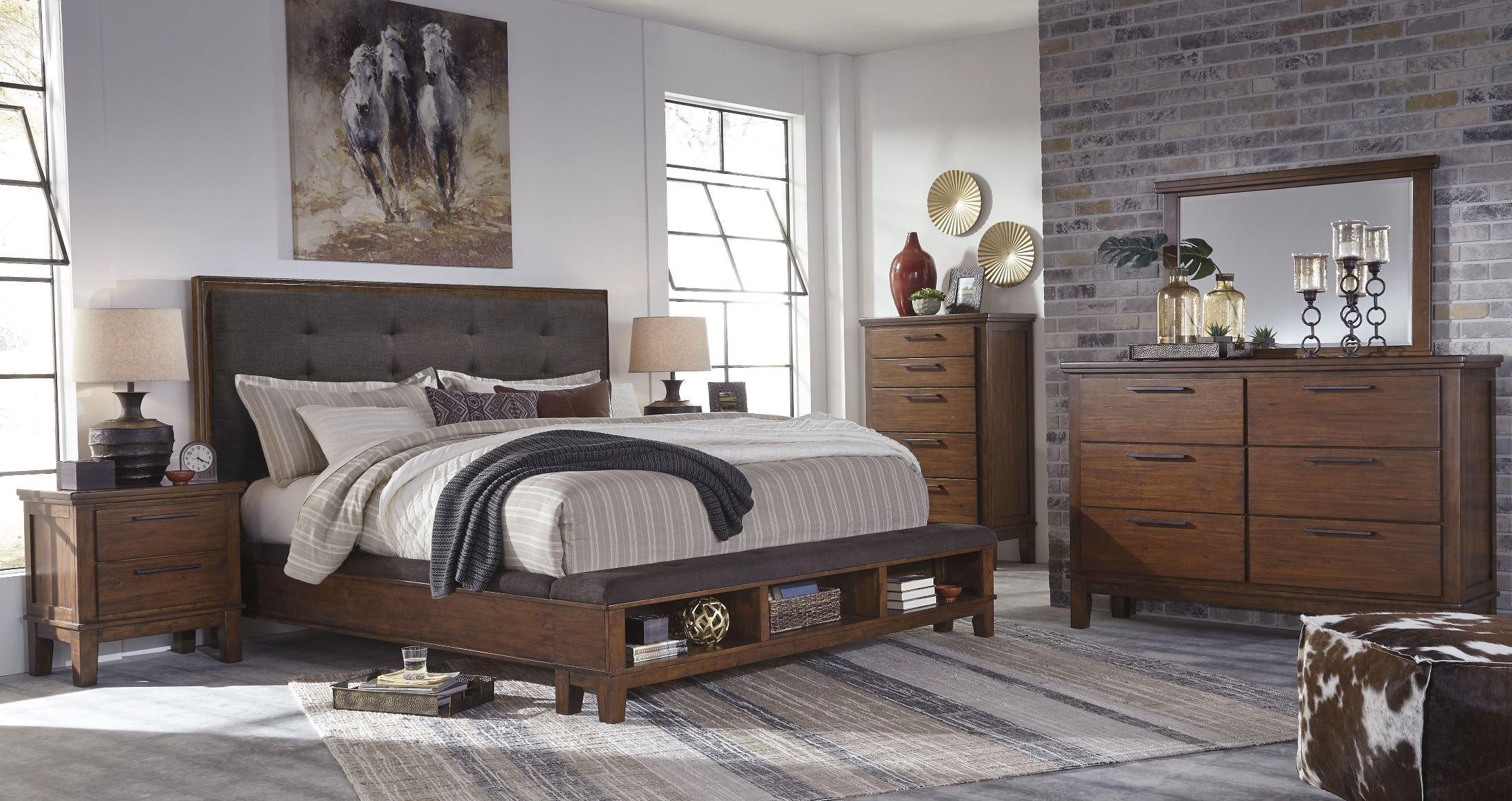Ralene Dark Brown Cal King Upholstered Storage Platform Bed 1stopbedrooms